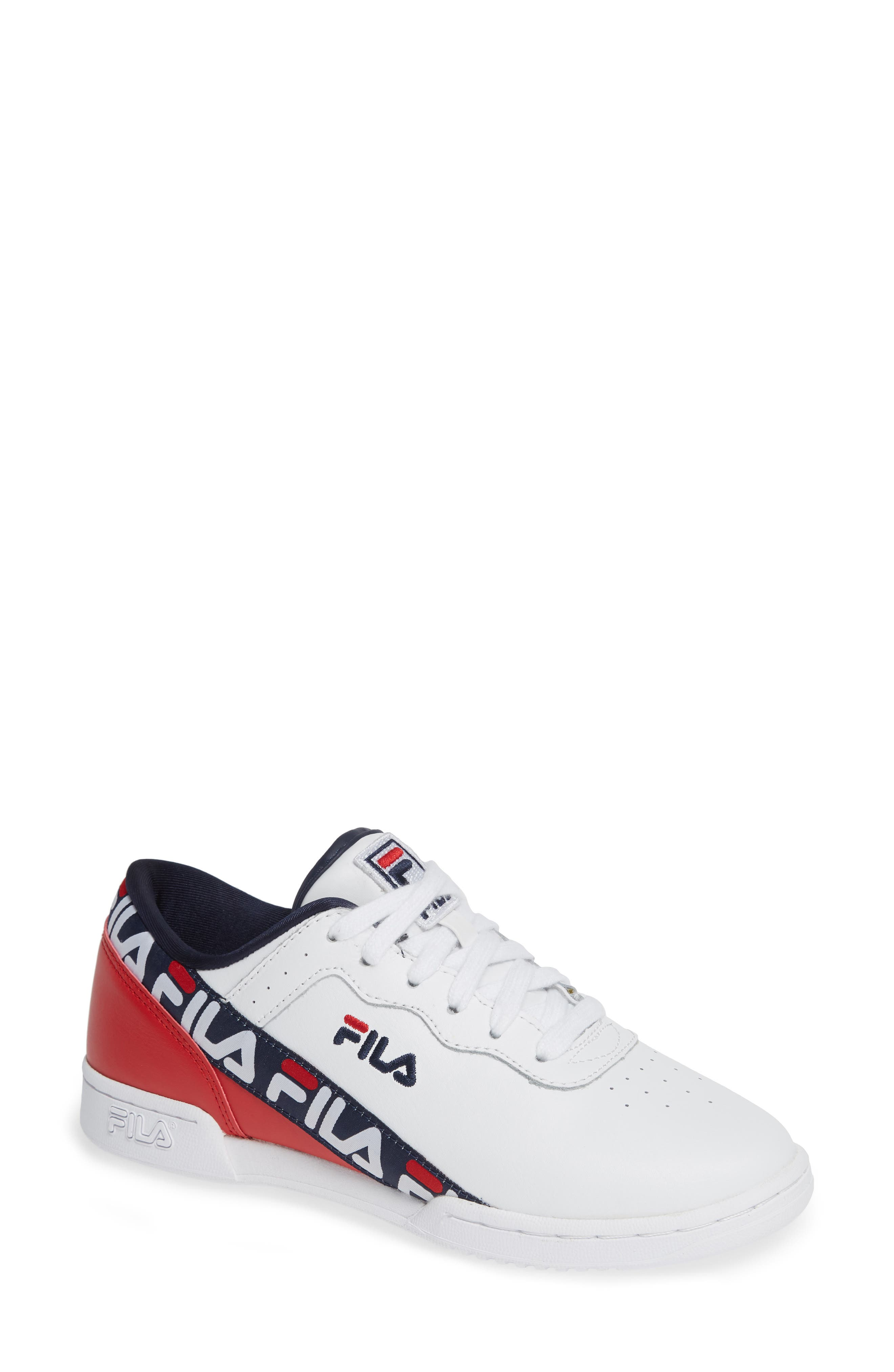 Original Fitness Logo Tape Sneaker,                             Main thumbnail 1, color,                             WHITE/ NAVY/ RED