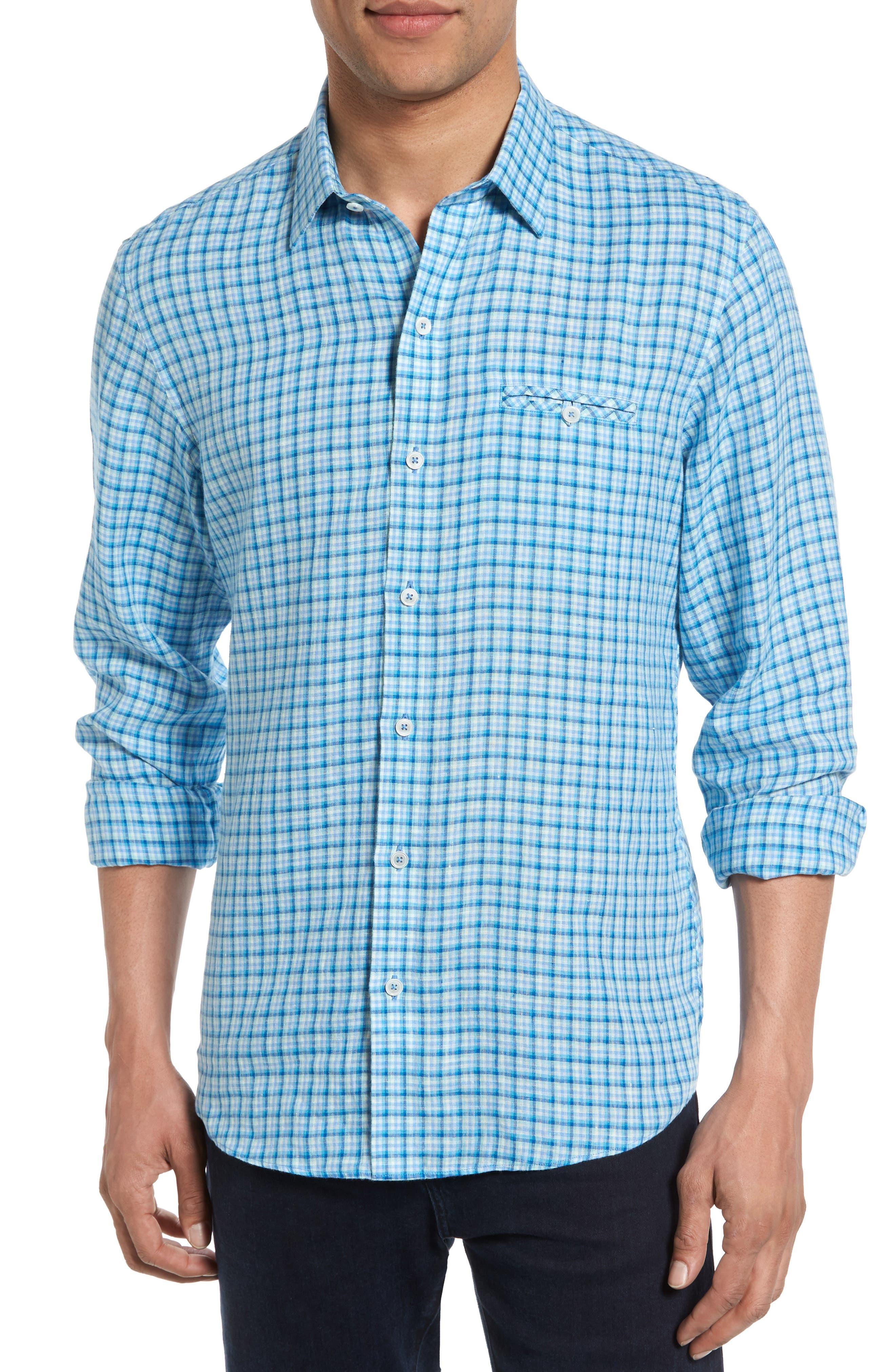 Althoff Plaid Linen Sport Shirt,                             Main thumbnail 1, color,