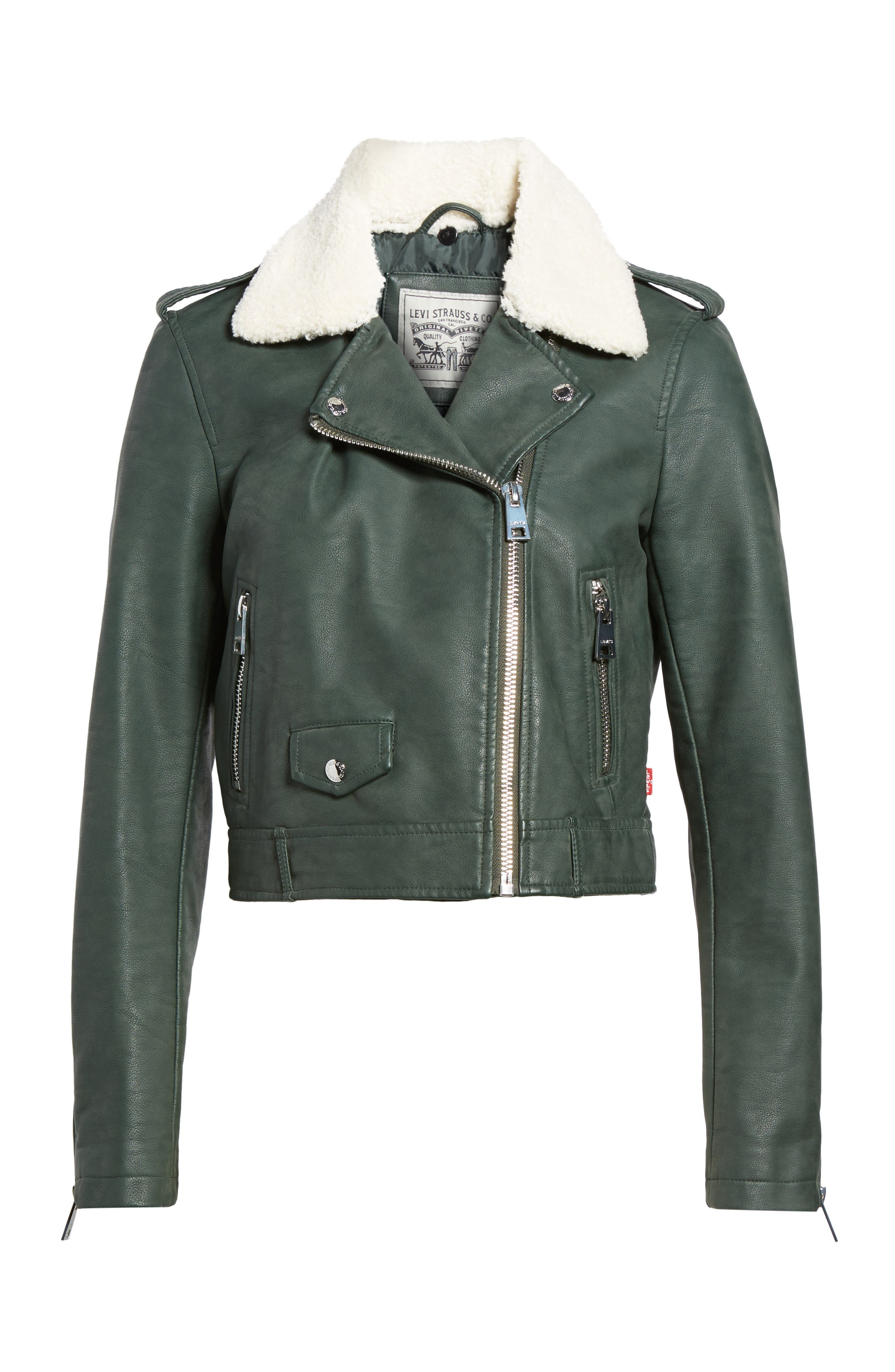 Levis<sup>®</sup> Sherpa Faux Leather Moto Jacket with Faux Fur Collar,                             Alternate thumbnail 10, color,