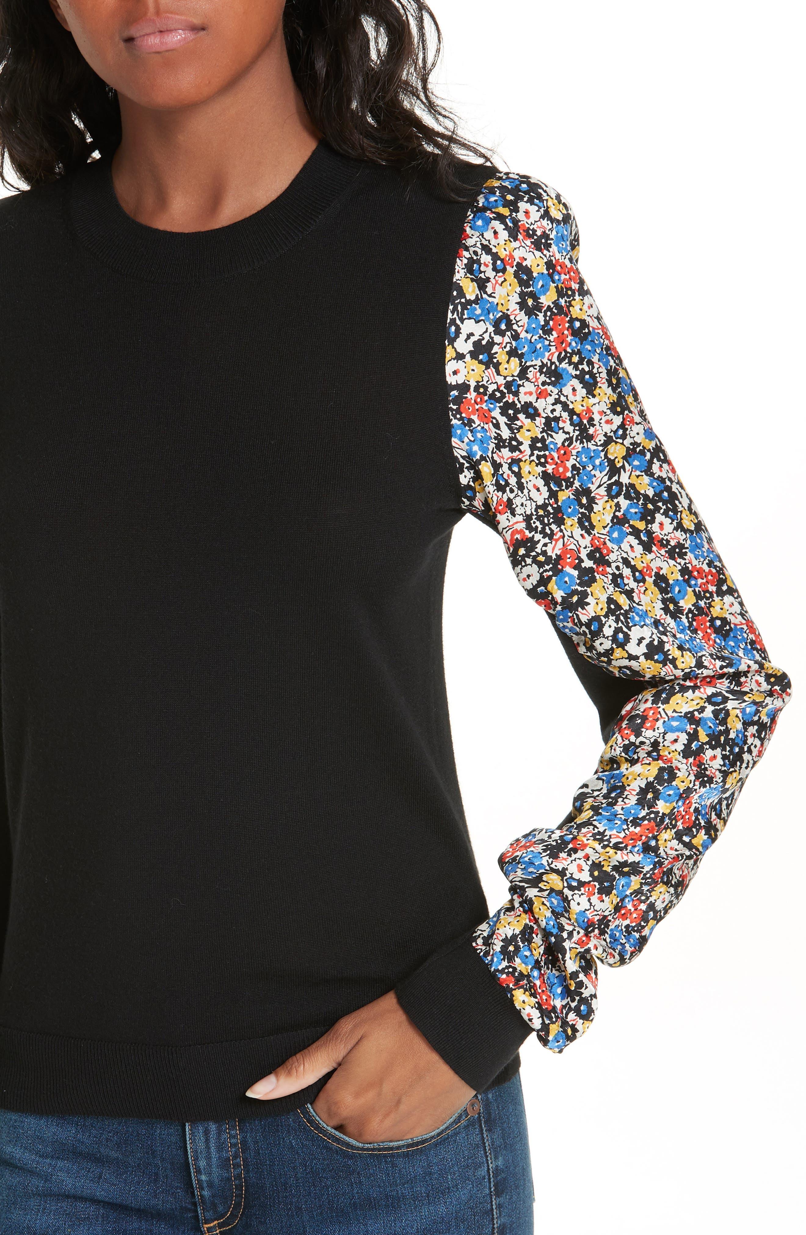 Adler Stretch Silk Sleeve Merino Wool Sweater,                             Alternate thumbnail 4, color,                             BLACK FLORAL
