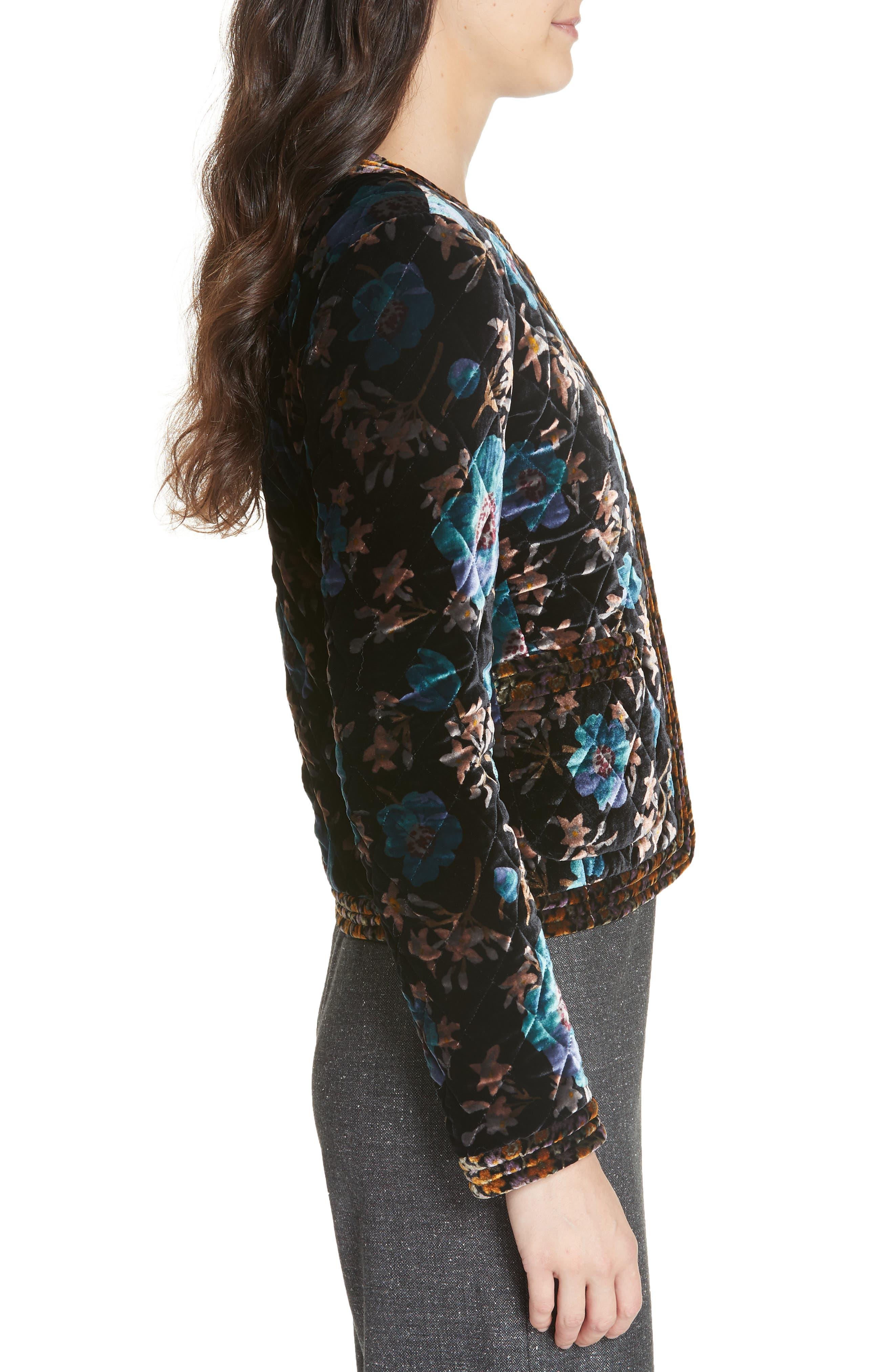 Solstice Quilted Velvet Jacket,                             Alternate thumbnail 3, color,                             BLACK COMBO