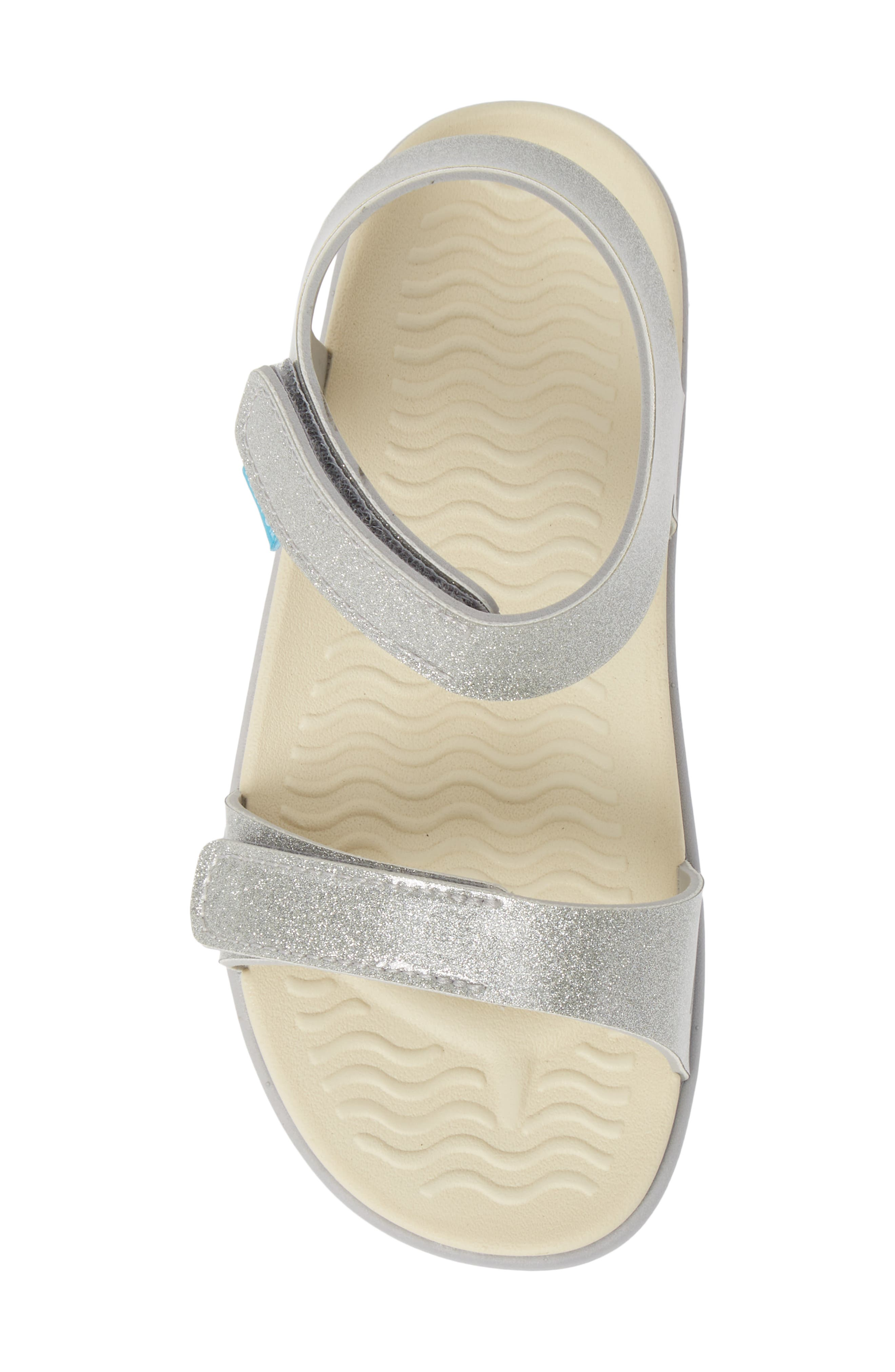 Charley Child Waterproof Flat Vegan Sandal,                             Alternate thumbnail 5, color,                             SILVER GLITTER/ WHITE/ GREY