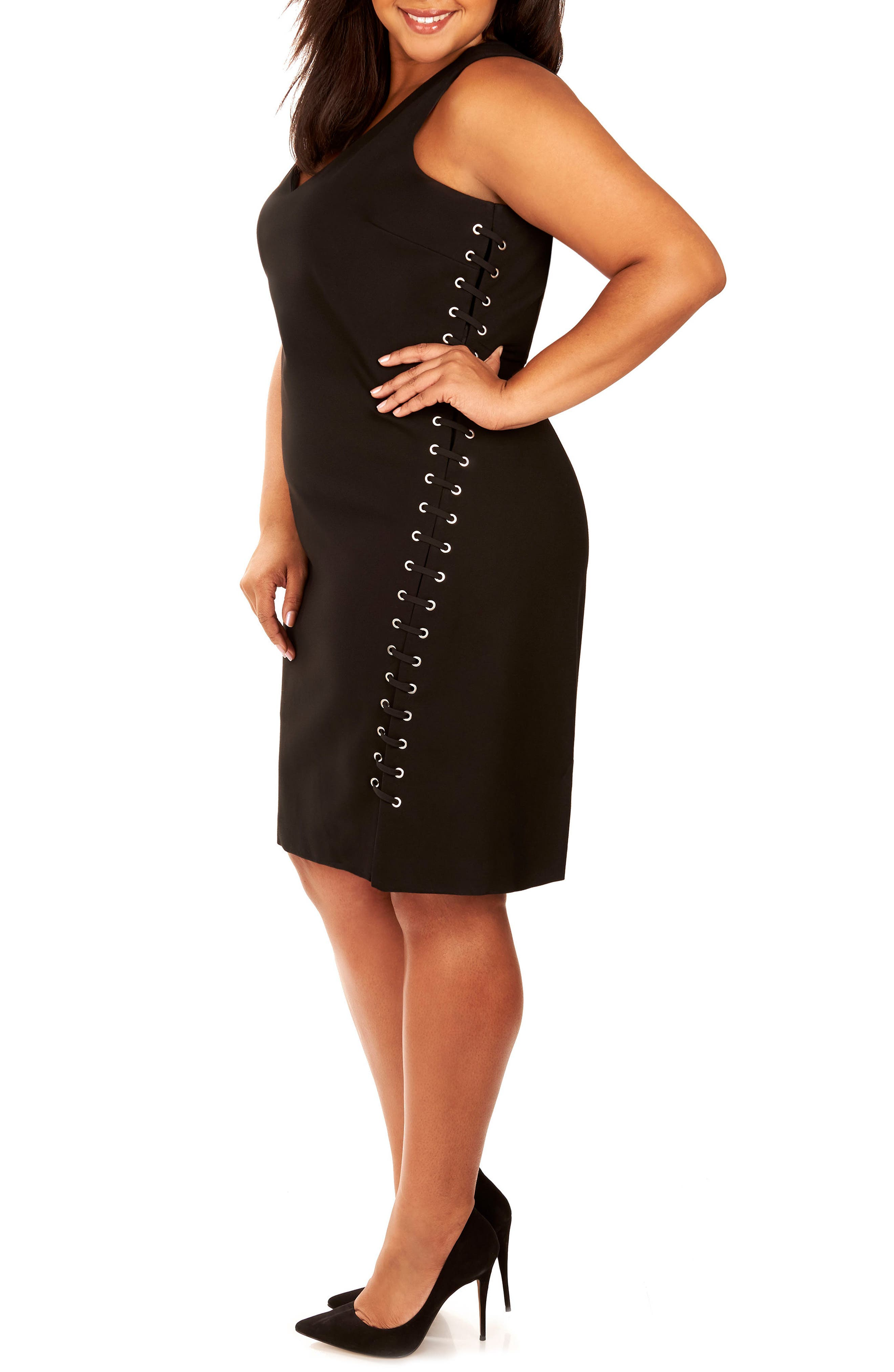 Lace-Up Body-Con Dress,                             Alternate thumbnail 3, color,                             002