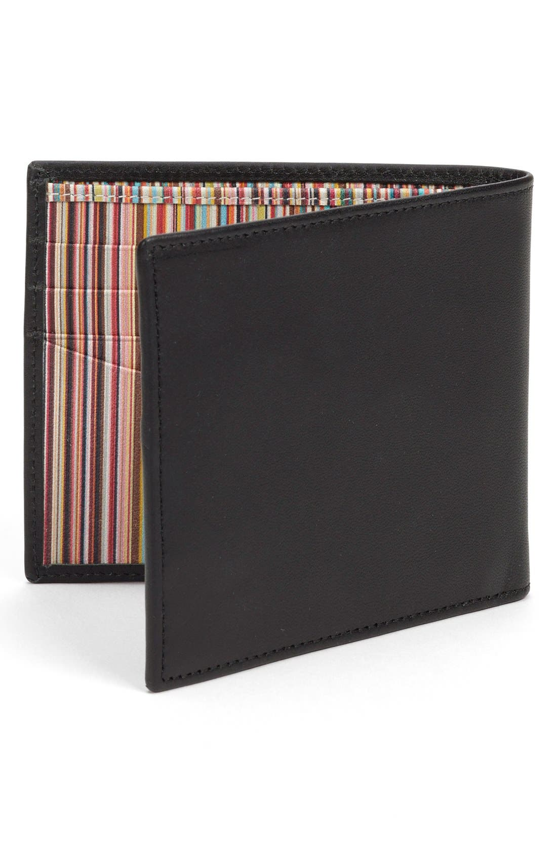 Interior Stripe Leather Billfold,                             Alternate thumbnail 2, color,                             001