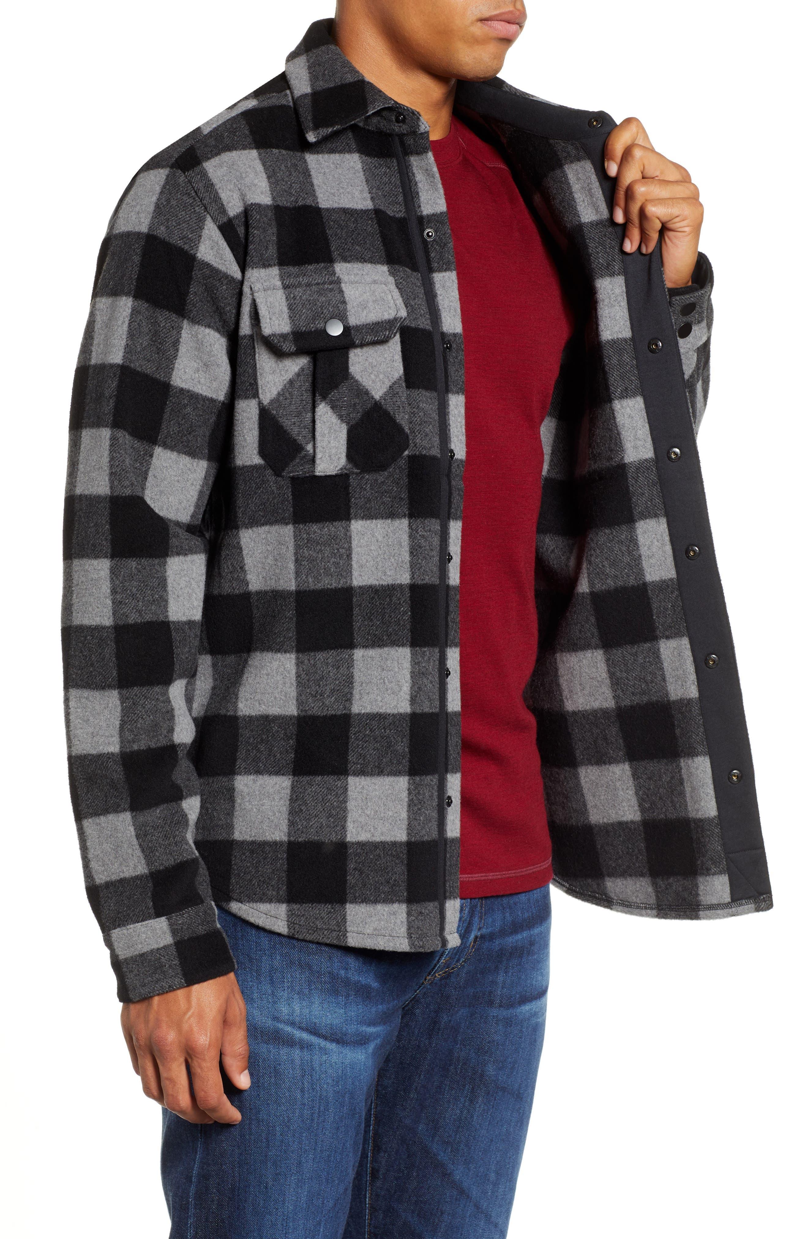 Anchor Line Flannel Shirt Jacket,                             Alternate thumbnail 4, color,                             MEDIUM GREY