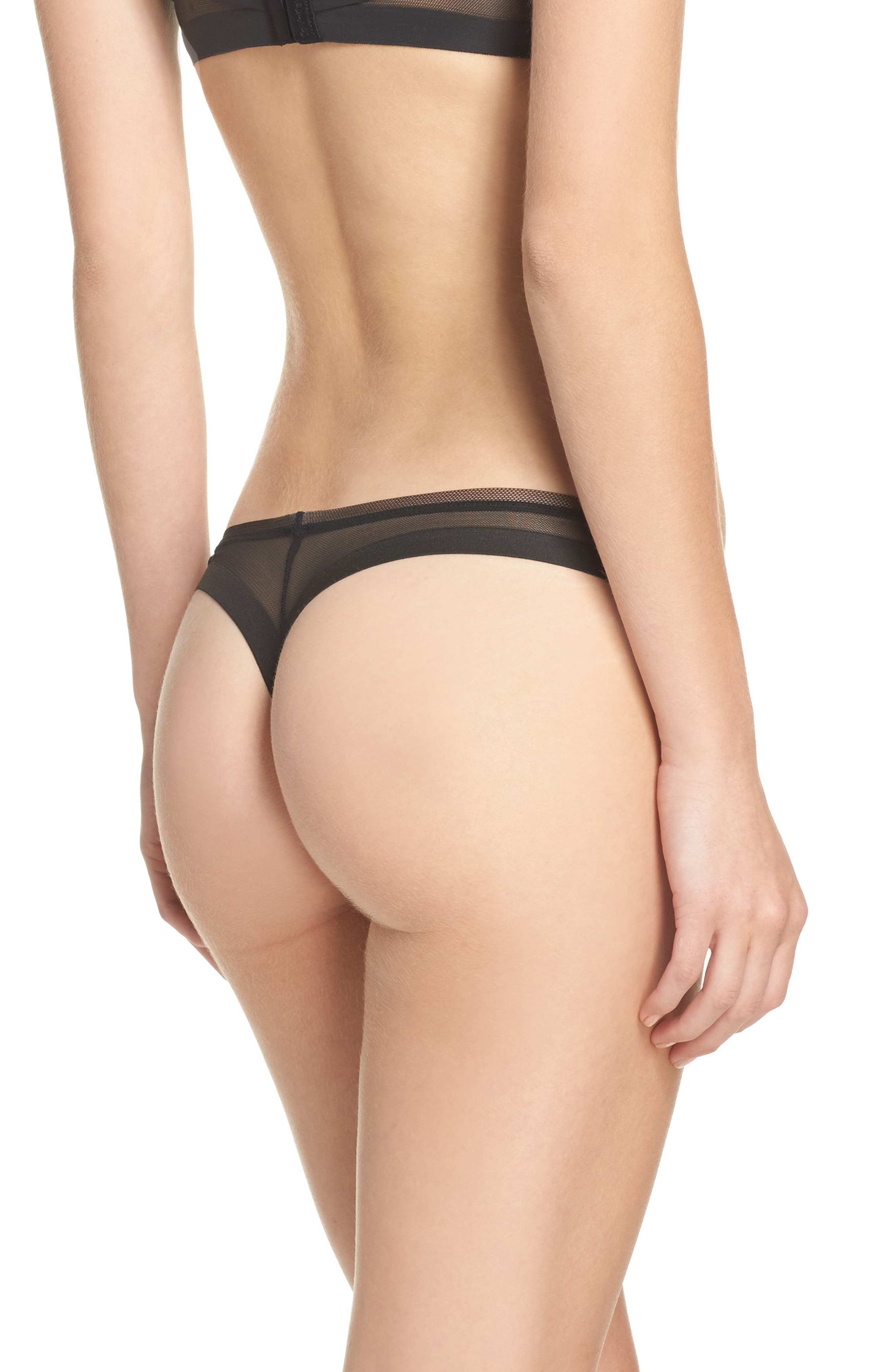 Mesh Back Thong,                             Alternate thumbnail 2, color,                             001