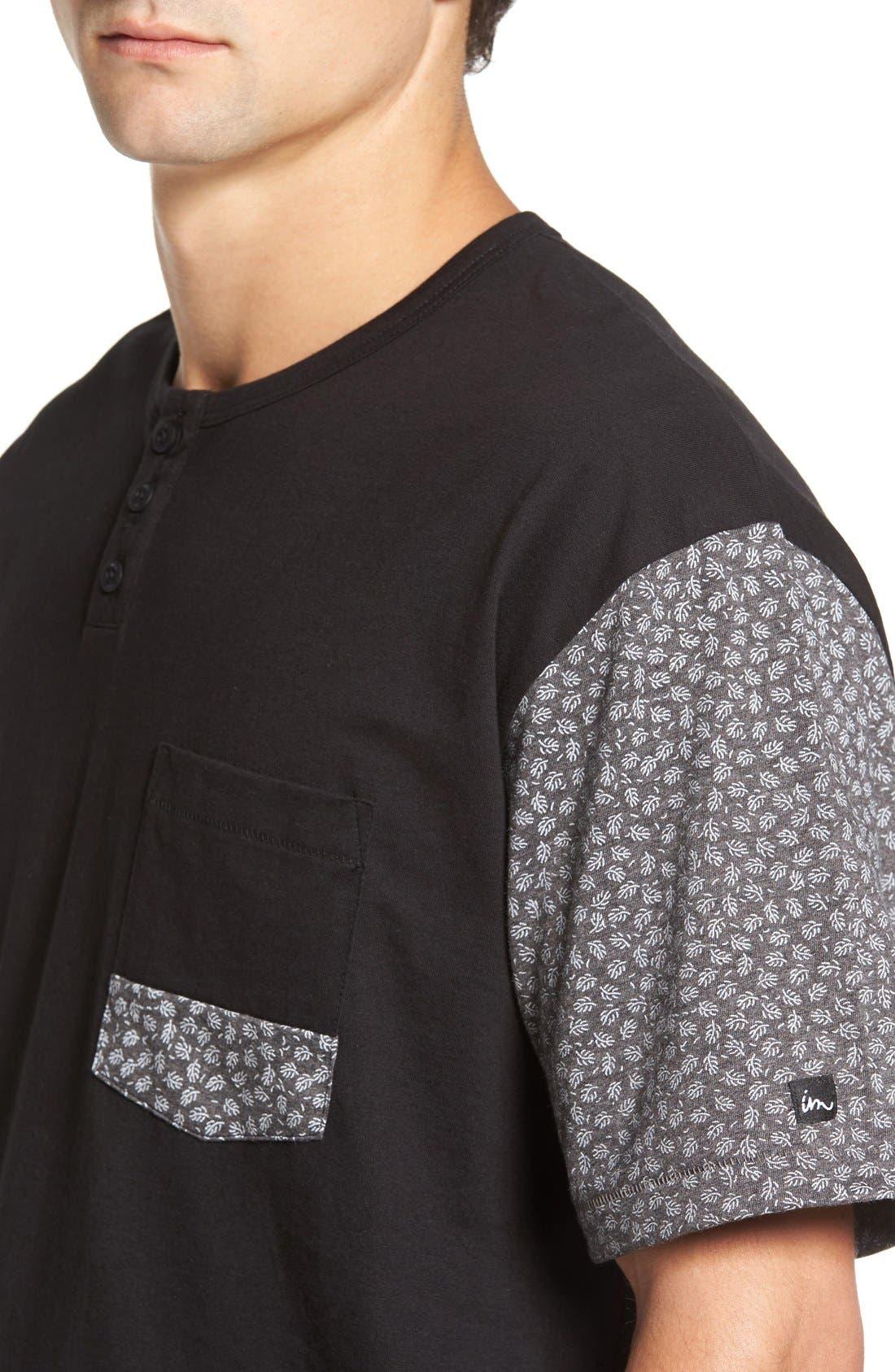'Harper' Short Sleeve Pocket Henley T-Shirt,                             Alternate thumbnail 4, color,                             001