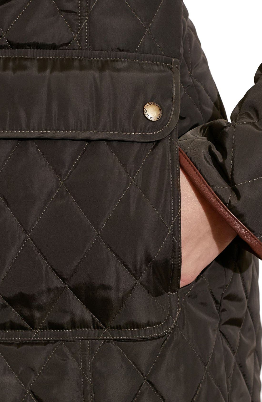 Diamond Quilted Coat with Faux Leather Trim,                             Alternate thumbnail 15, color,