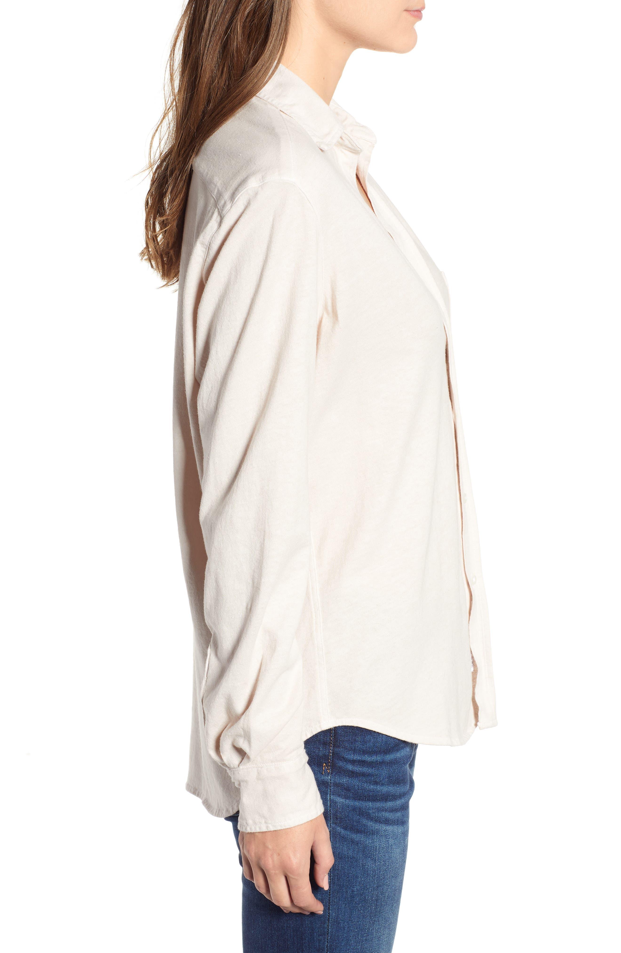 Eileen Jersey Button Front Shirt,                             Alternate thumbnail 3, color,                             NO FILTER