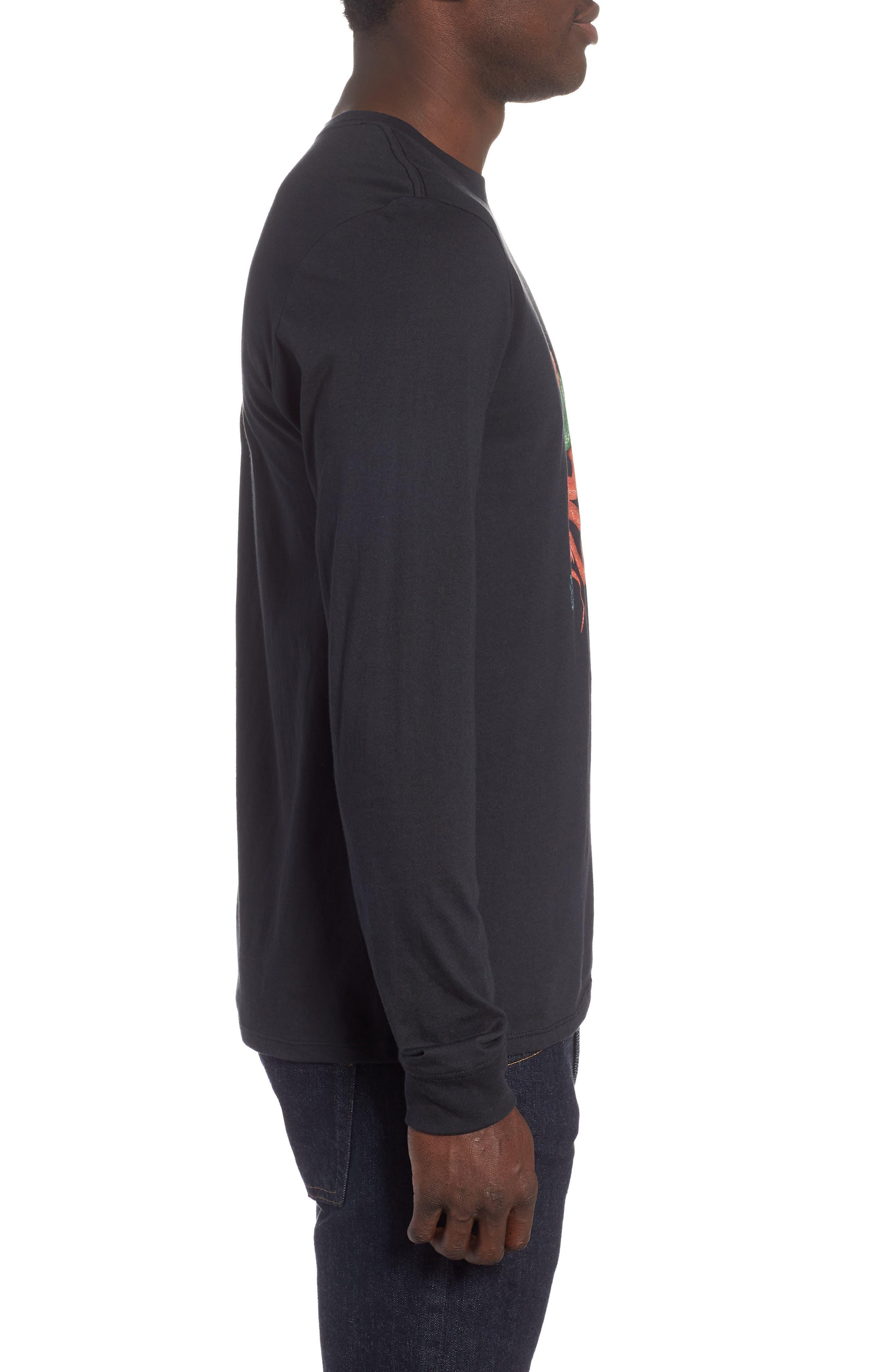 Tread Lightly Long Sleeve T-Shirt,                             Alternate thumbnail 3, color,                             BLACK