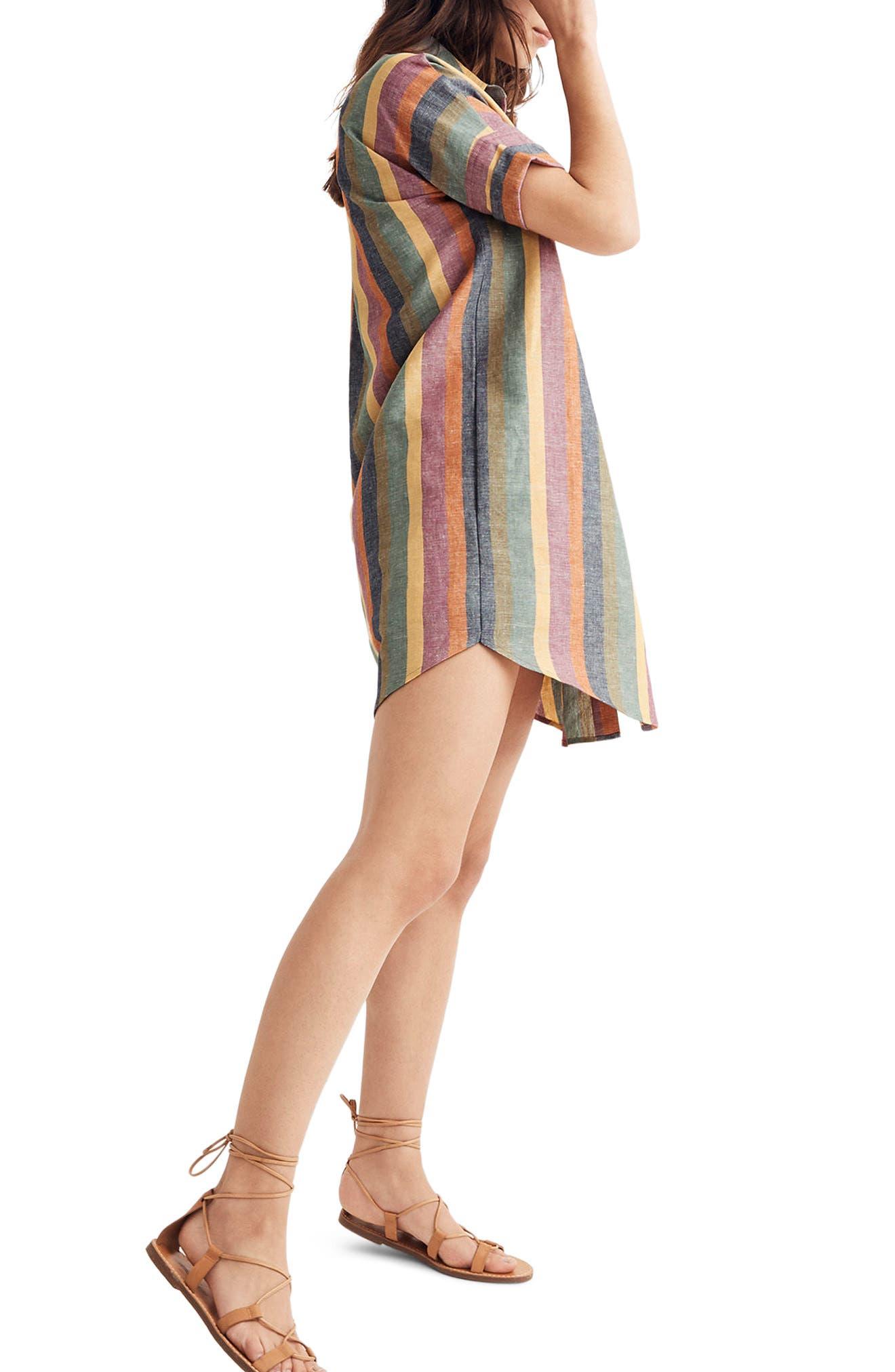 MADEWELL,                             Courier Rainbow Stripe Linen & Cotton Shirtdress,                             Alternate thumbnail 2, color,                             401