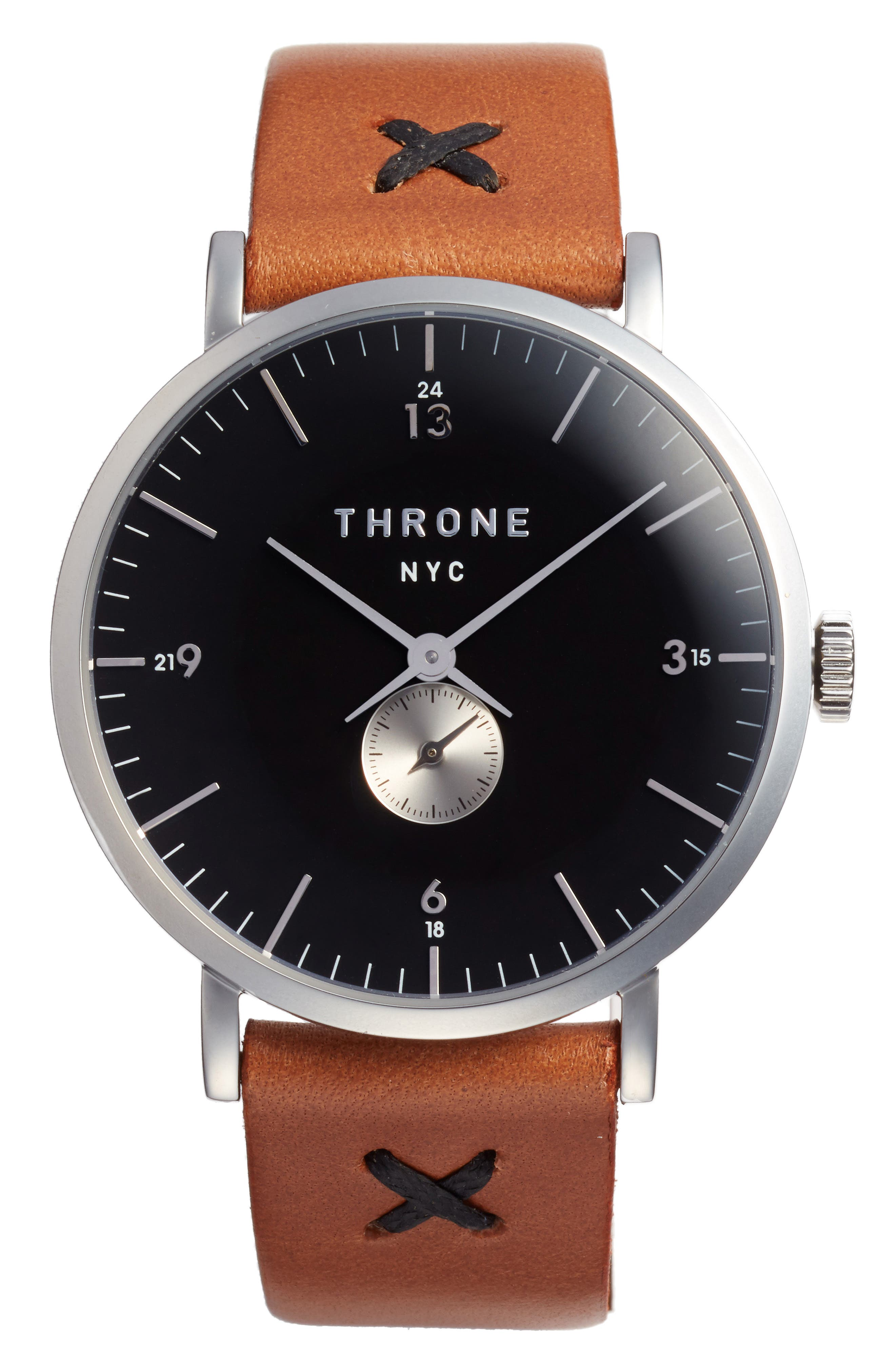 1.0 Leather Strap Watch, 40mm,                             Main thumbnail 3, color,