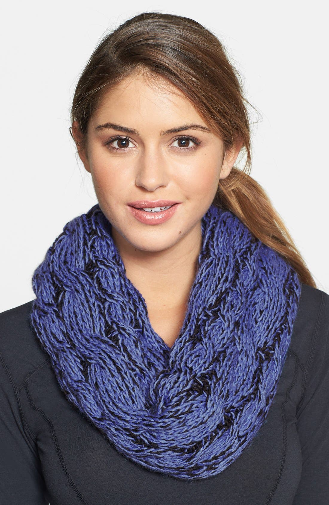 Cable Knit Infinity Scarf,                             Main thumbnail 1, color,                             001