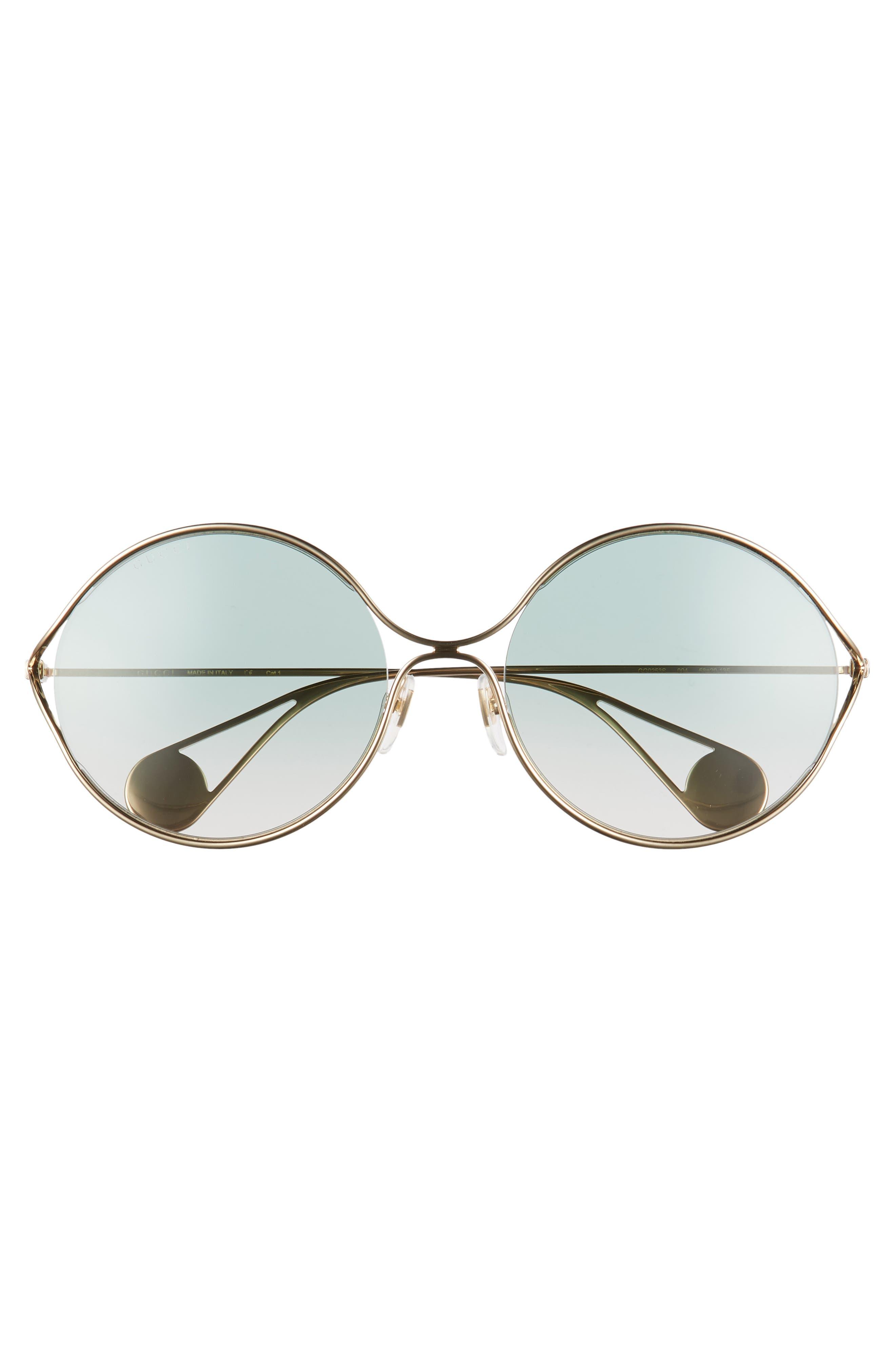 58mm Gradient Lens Round Sunglasses,                             Alternate thumbnail 3, color,                             GOLD/ SAGE/ PINK