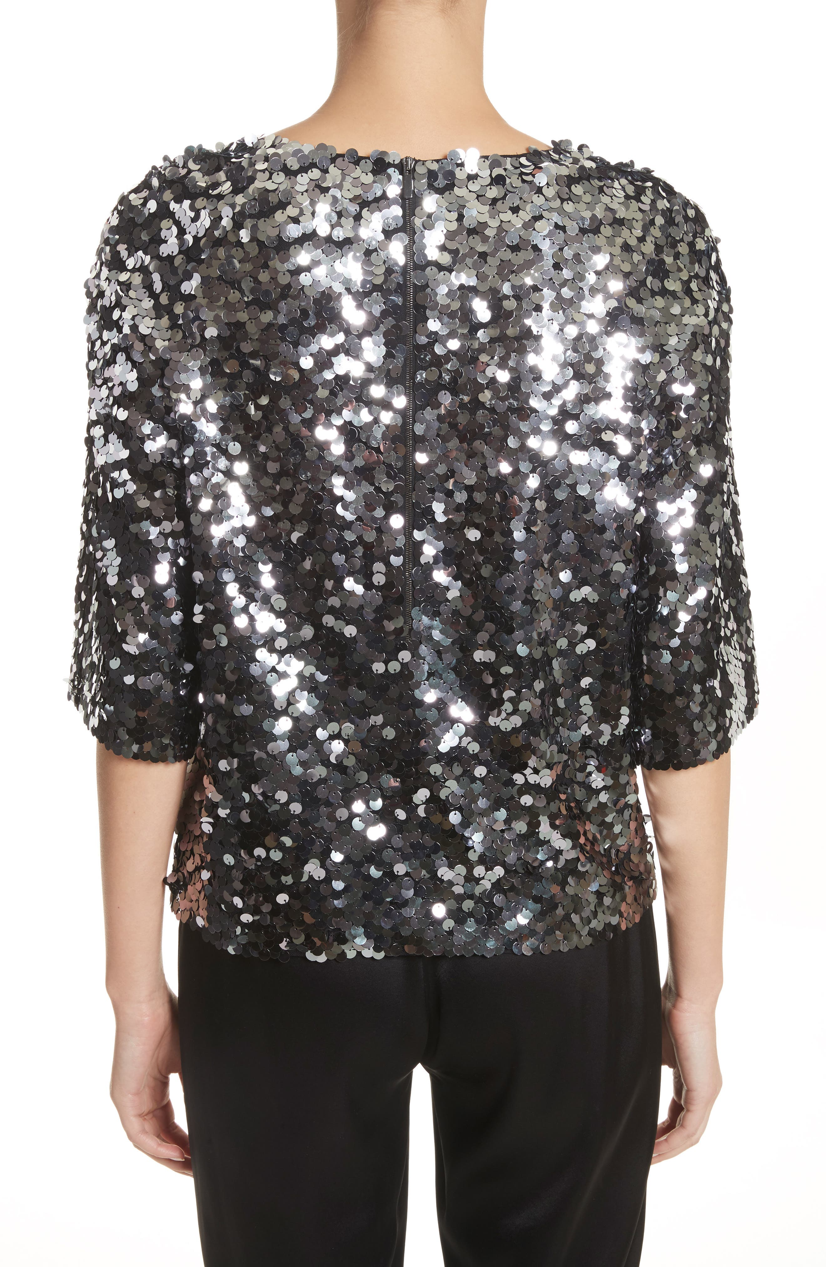 Sequin Tulle Top,                             Alternate thumbnail 2, color,