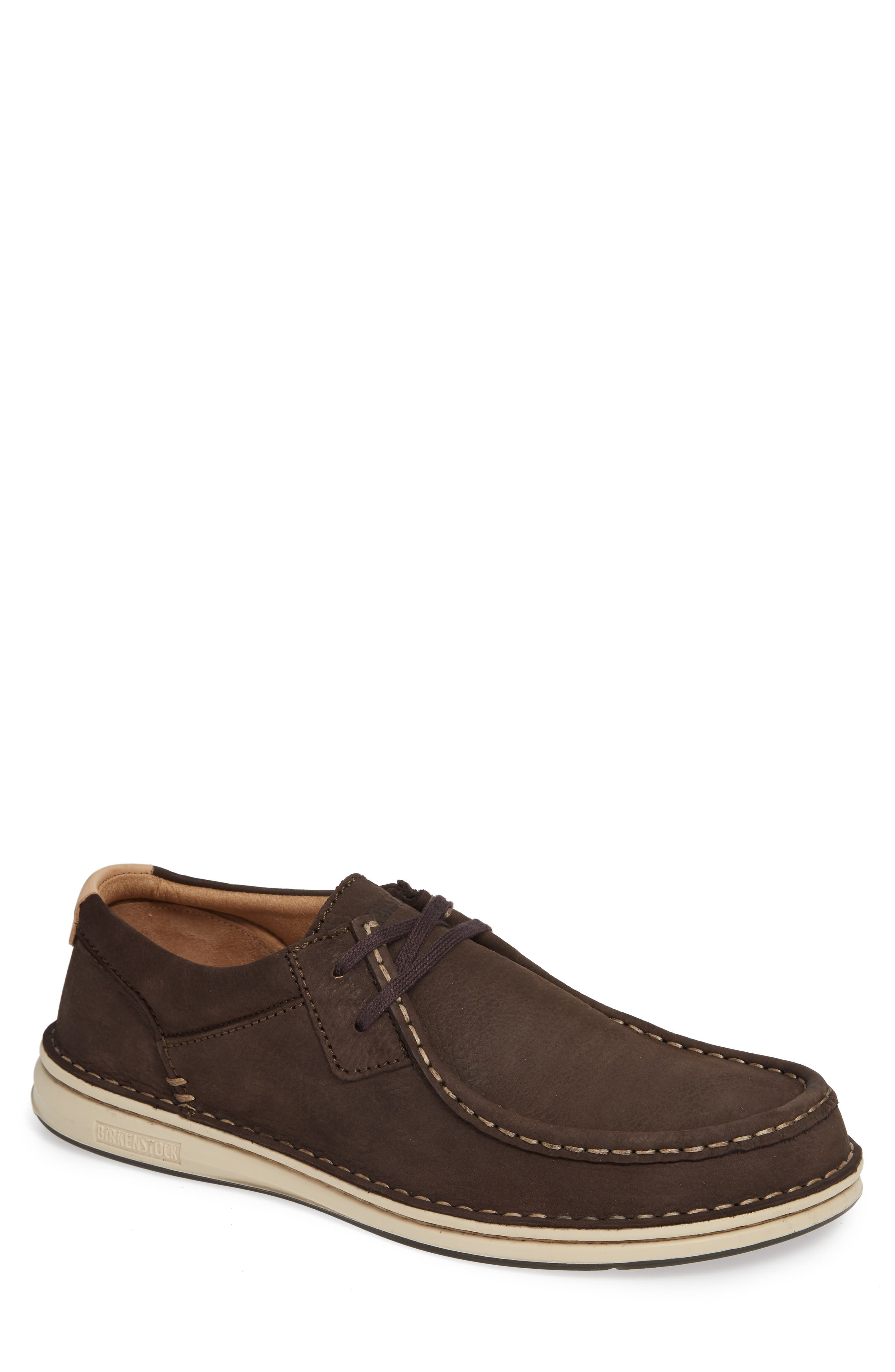 'Pasadena' Lace-Up Moccasin,                             Main thumbnail 1, color,                             BROWN