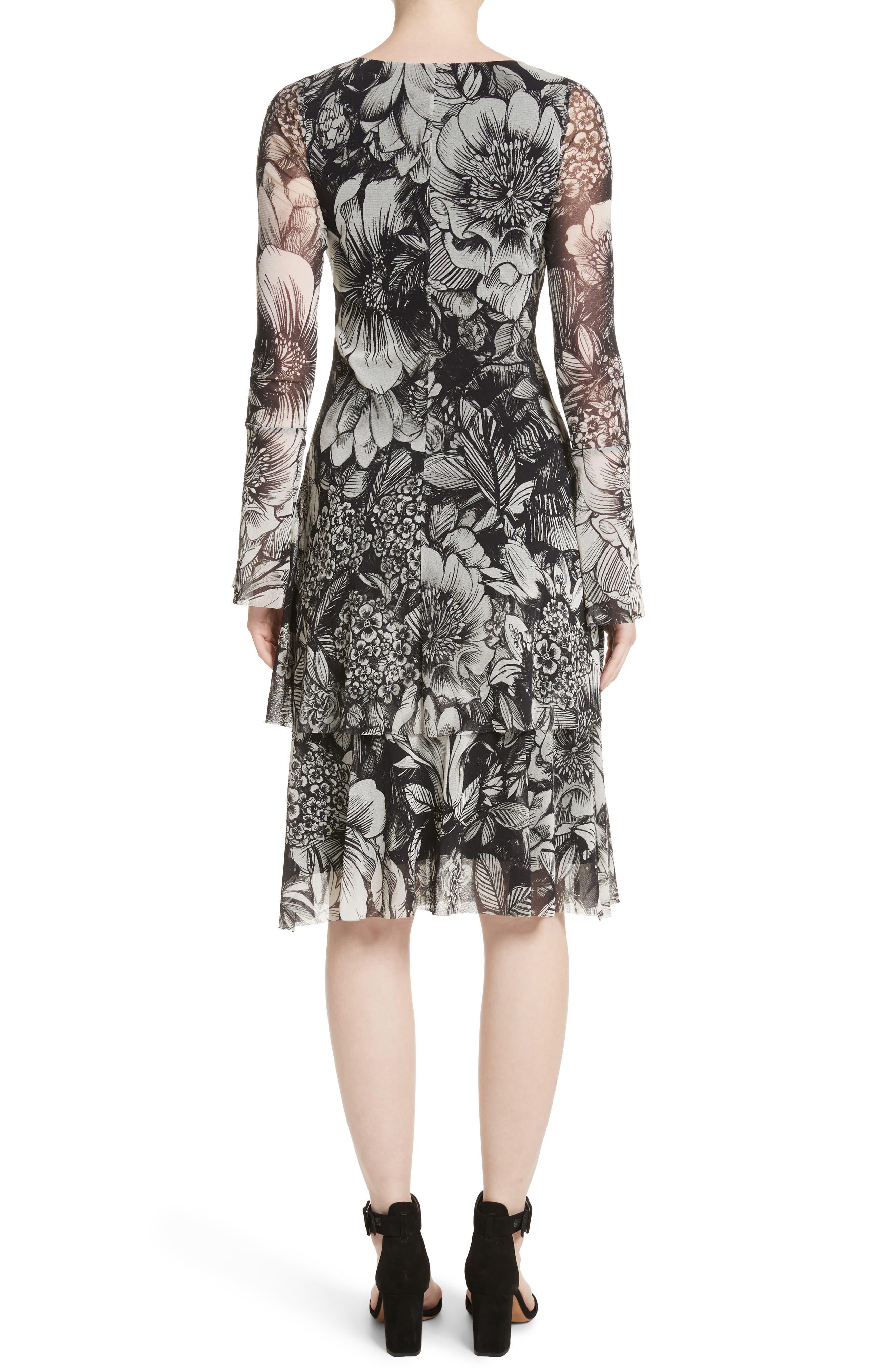 Ruffle Floral Print Tulle Dress,                             Alternate thumbnail 2, color,