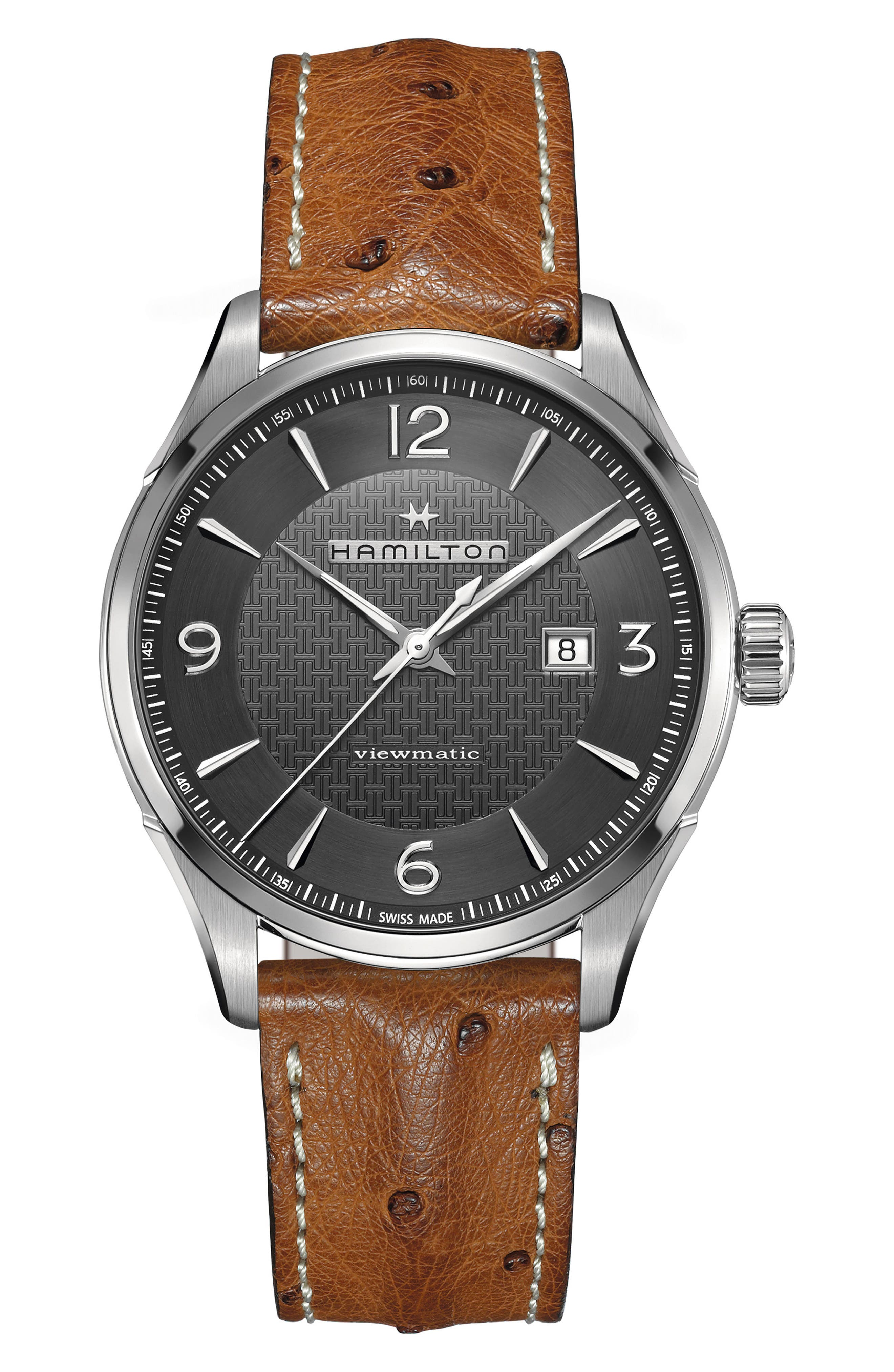Jazzmaster Viewmatic Auto Ostrich Leather Strap Watch, 44mm,                         Main,                         color, BROWN/ GUNMETAL/ SILVER