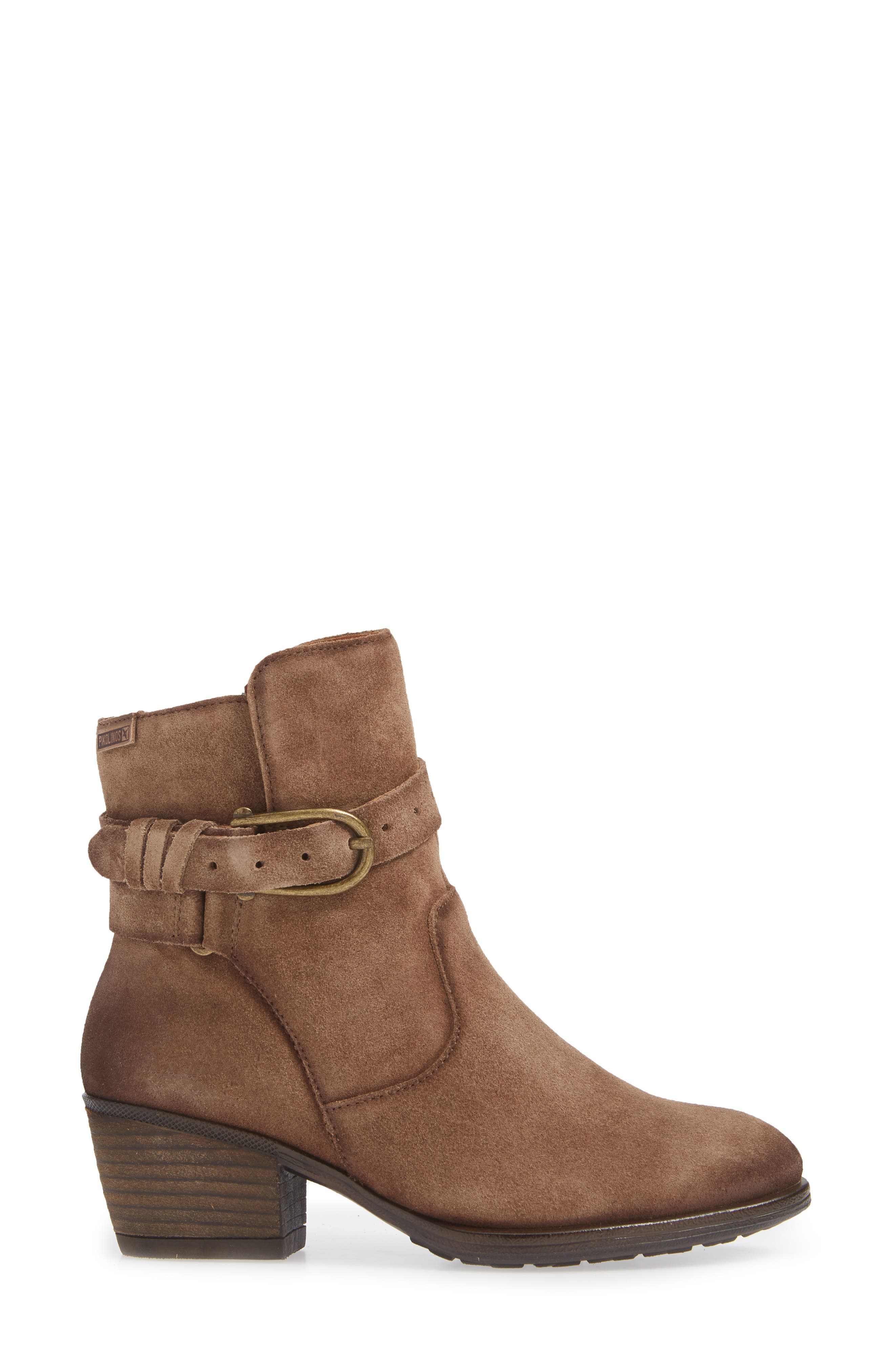 Baqueira Belted Bootie,                             Alternate thumbnail 3, color,                             STONE SUEDE