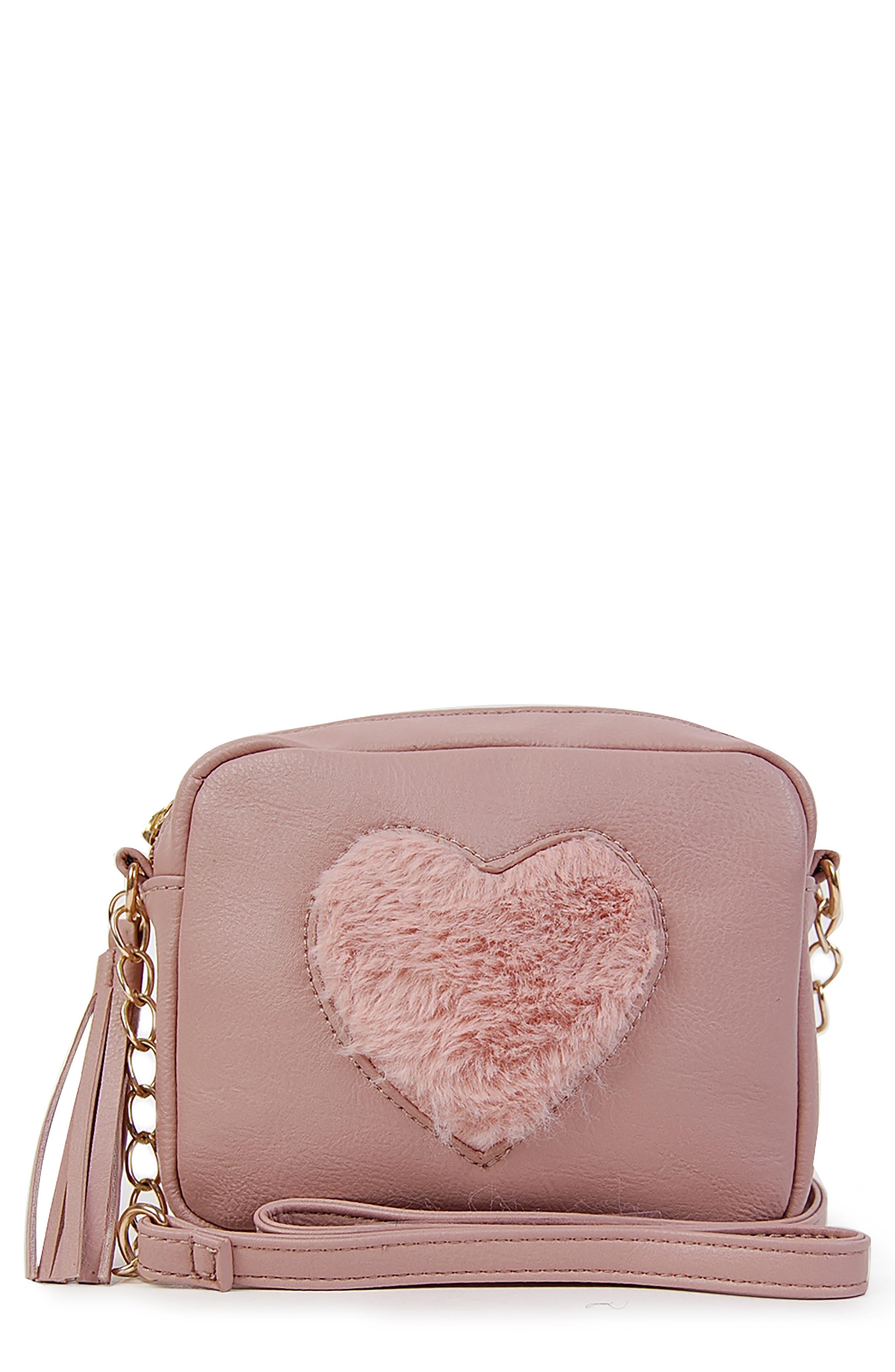 Faux Fur Heart Crossbody Bag,                         Main,                         color, 650