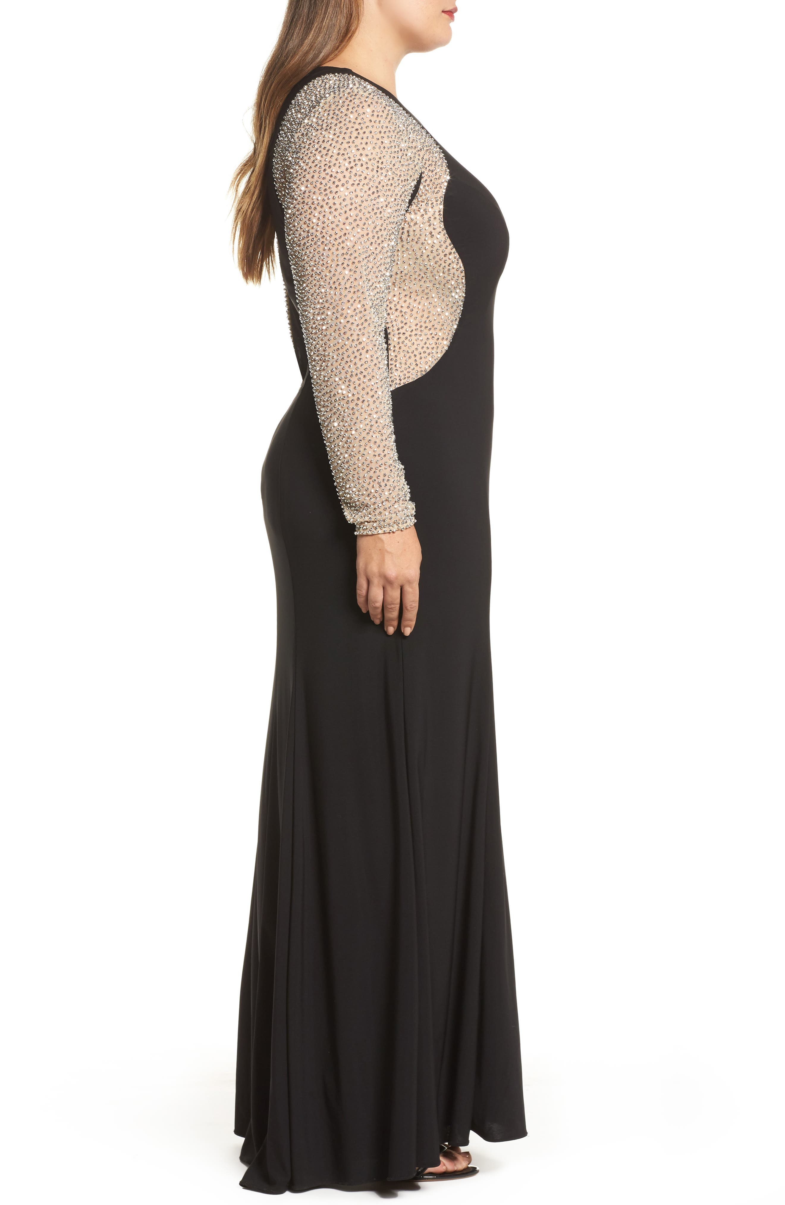 XSCAPE,                             Embellished Jersey Gown,                             Alternate thumbnail 3, color,                             BLACK/ NUDE/ SILVER