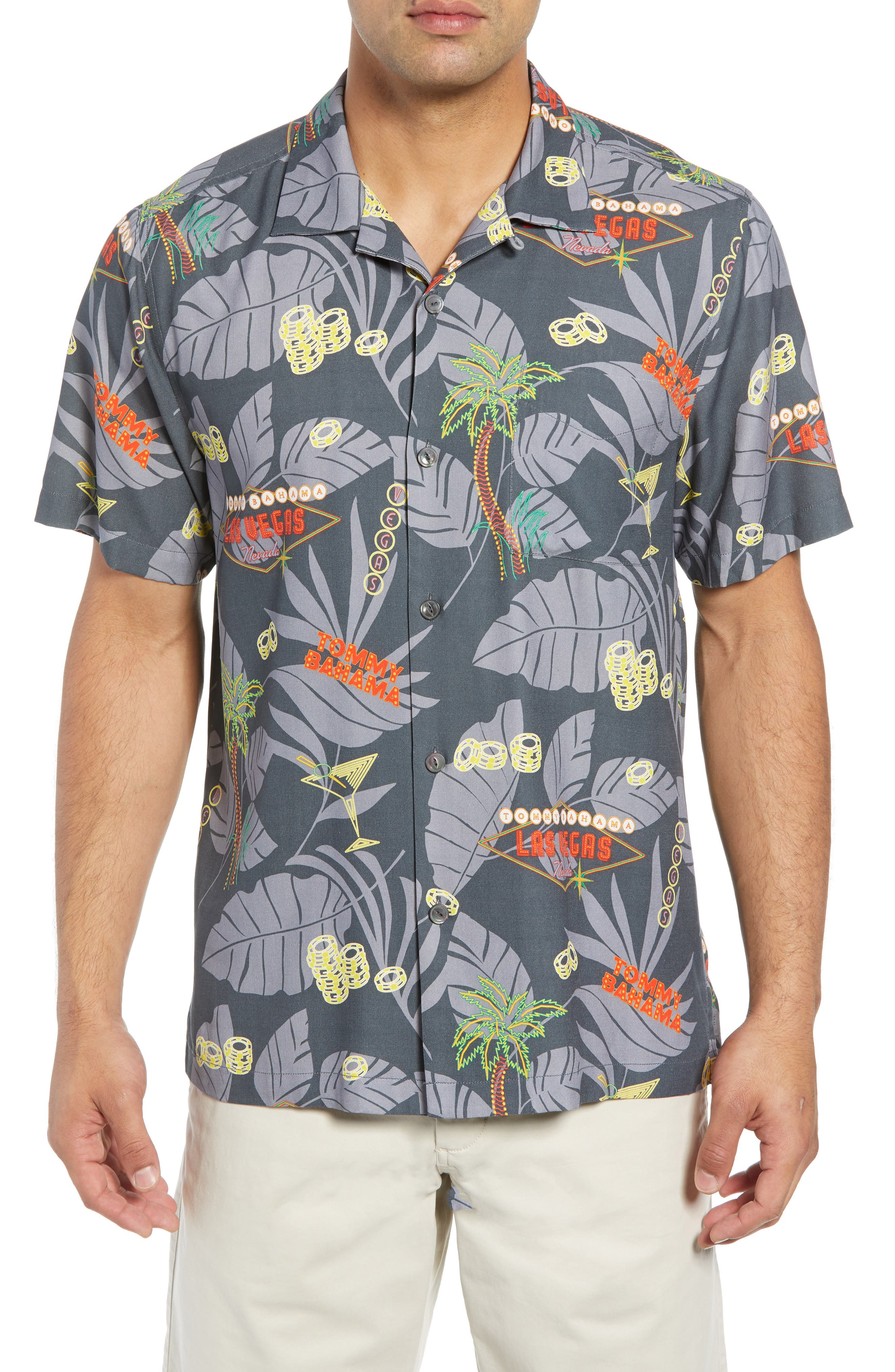 TOMMY BAHAMA Poker in Paradise Silk Camp Shirt, Main, color, 001