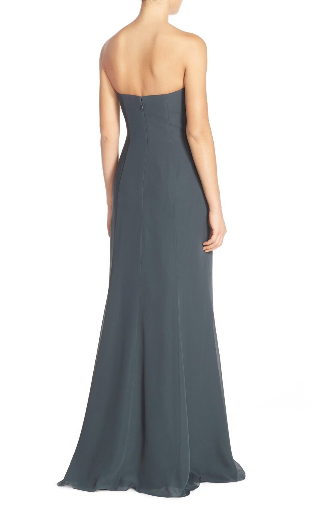Raquel Front Slit Strapless Chiffon Gown,                             Alternate thumbnail 3, color,                             026
