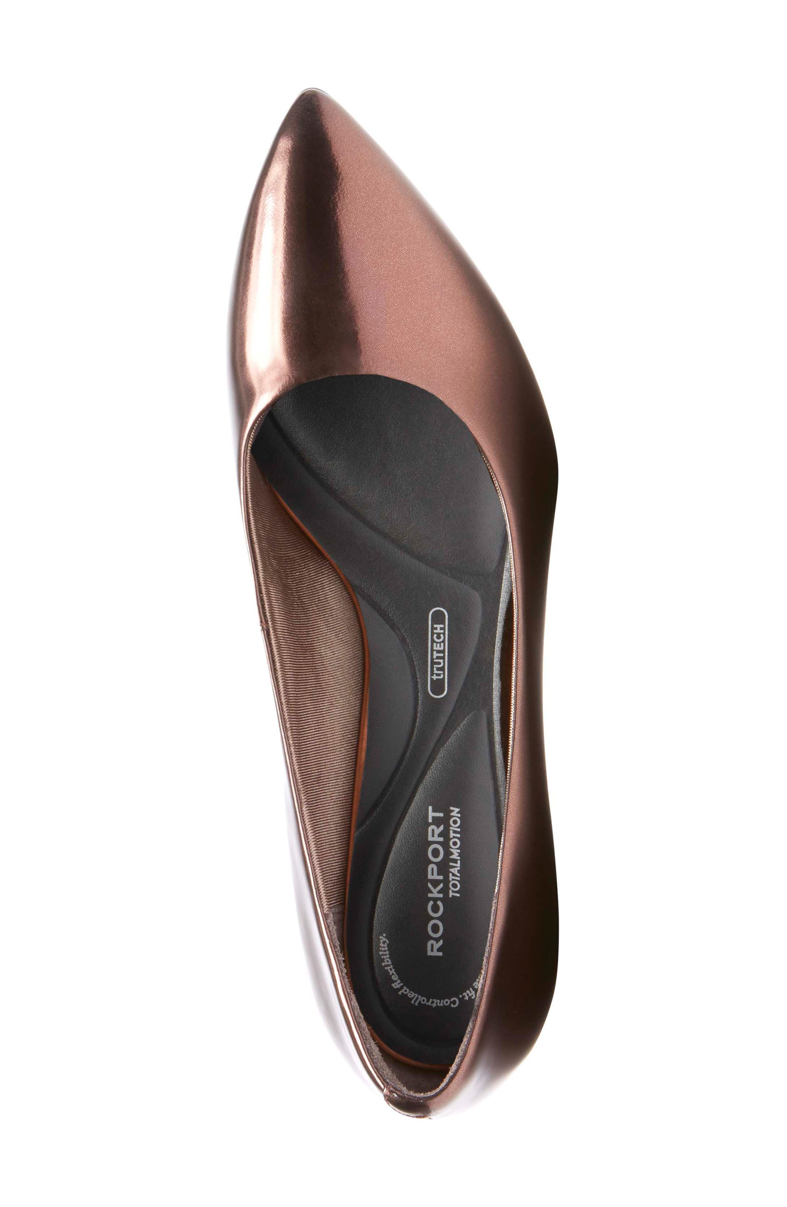 Total Motion Violina Luxe Pointy Toe Pump,                             Alternate thumbnail 5, color,                             BRONZE PATENT LEATHER