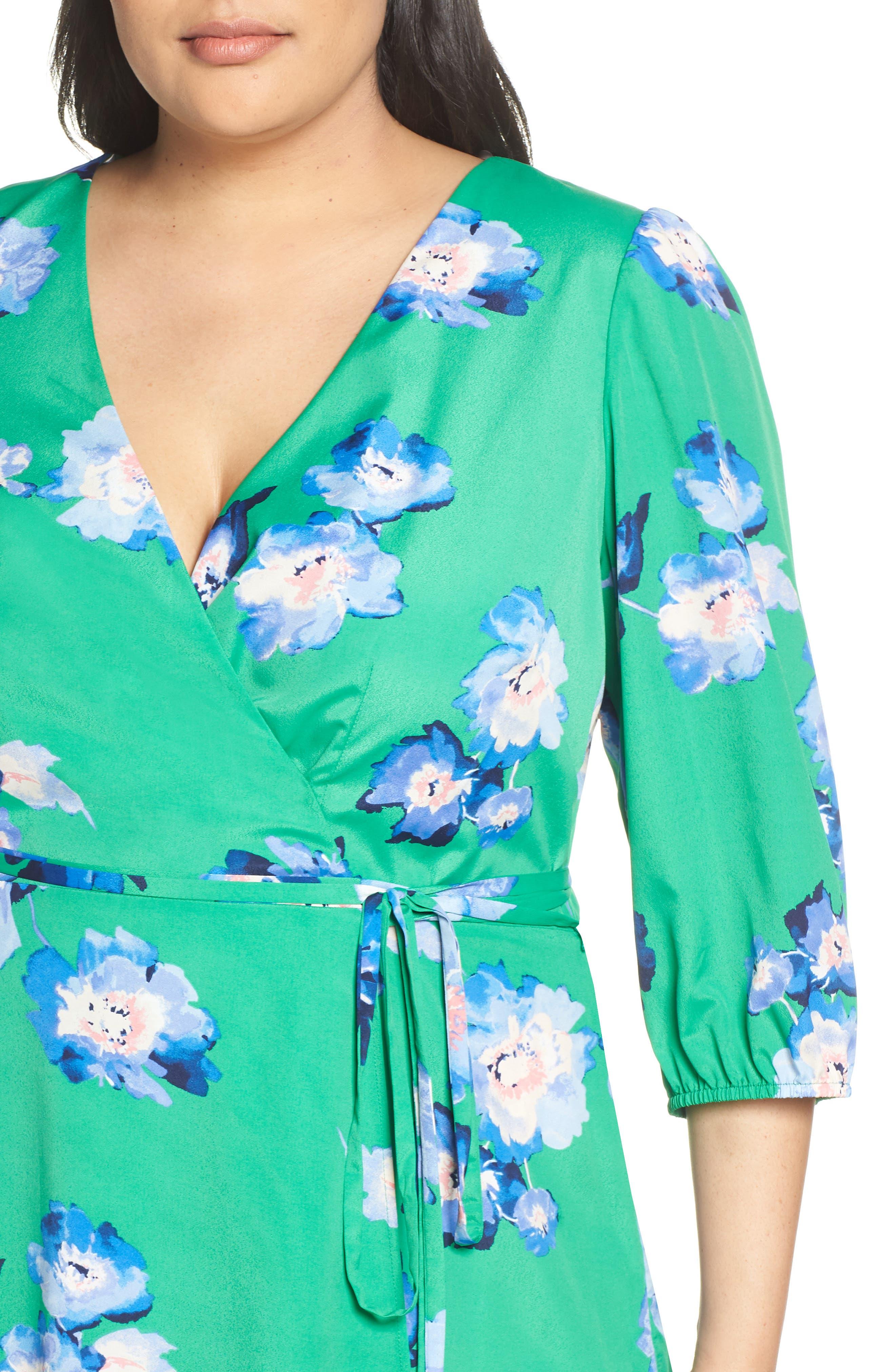 Blouson Sleeve Wrap Midi Dress,                             Alternate thumbnail 4, color,                             GREEN