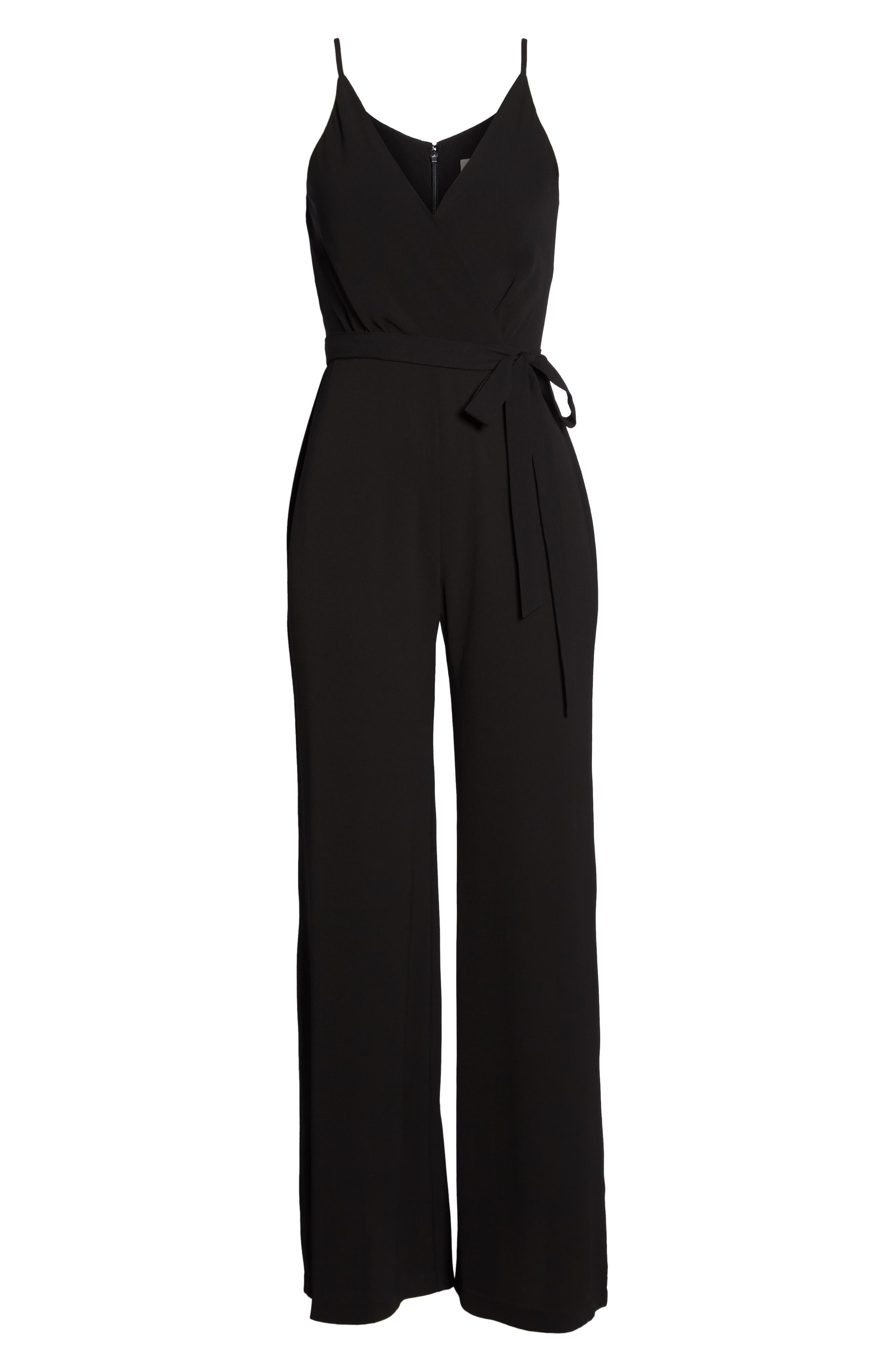 Belted Cami Jumpsuit,                             Alternate thumbnail 7, color,                             BLACK