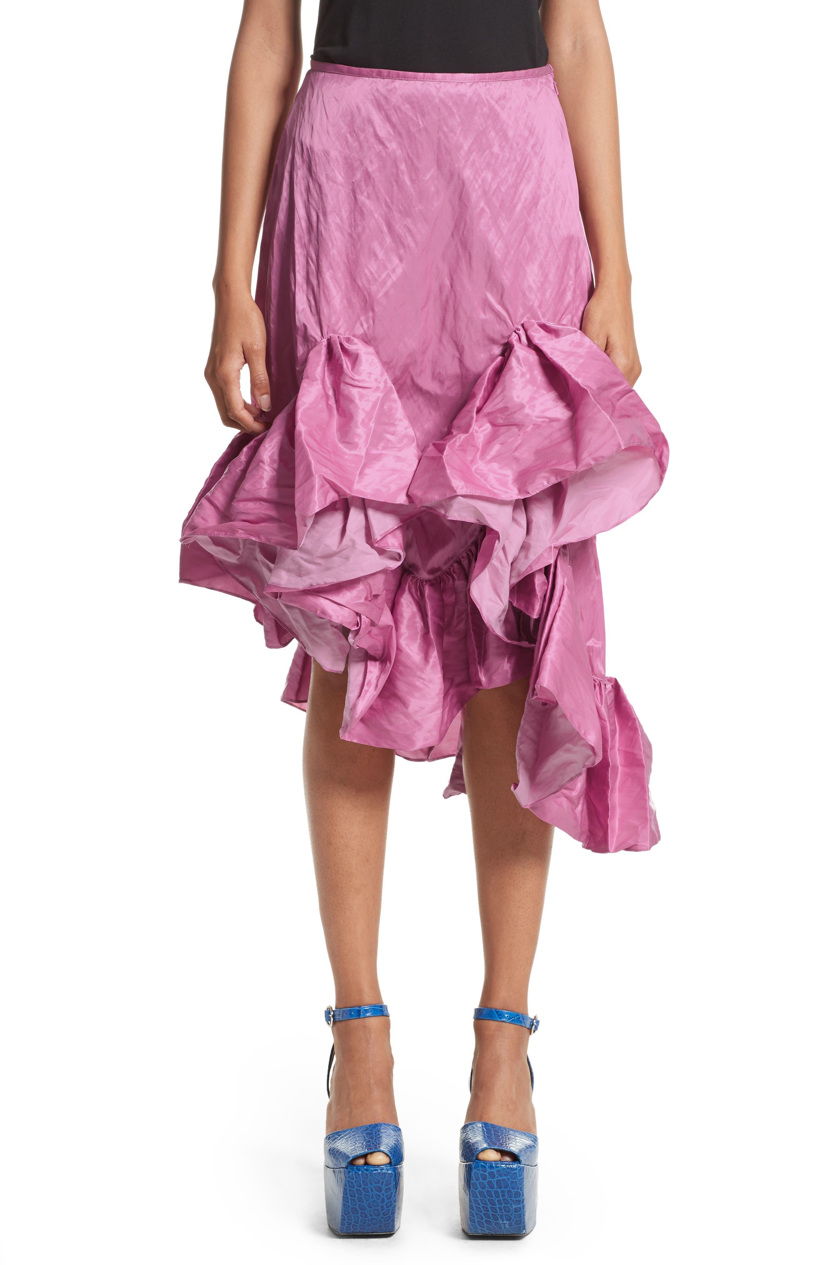 Marques'Almeida Asymmetrical Ruffle Taffeta Skirt,                             Main thumbnail 1, color,                             650