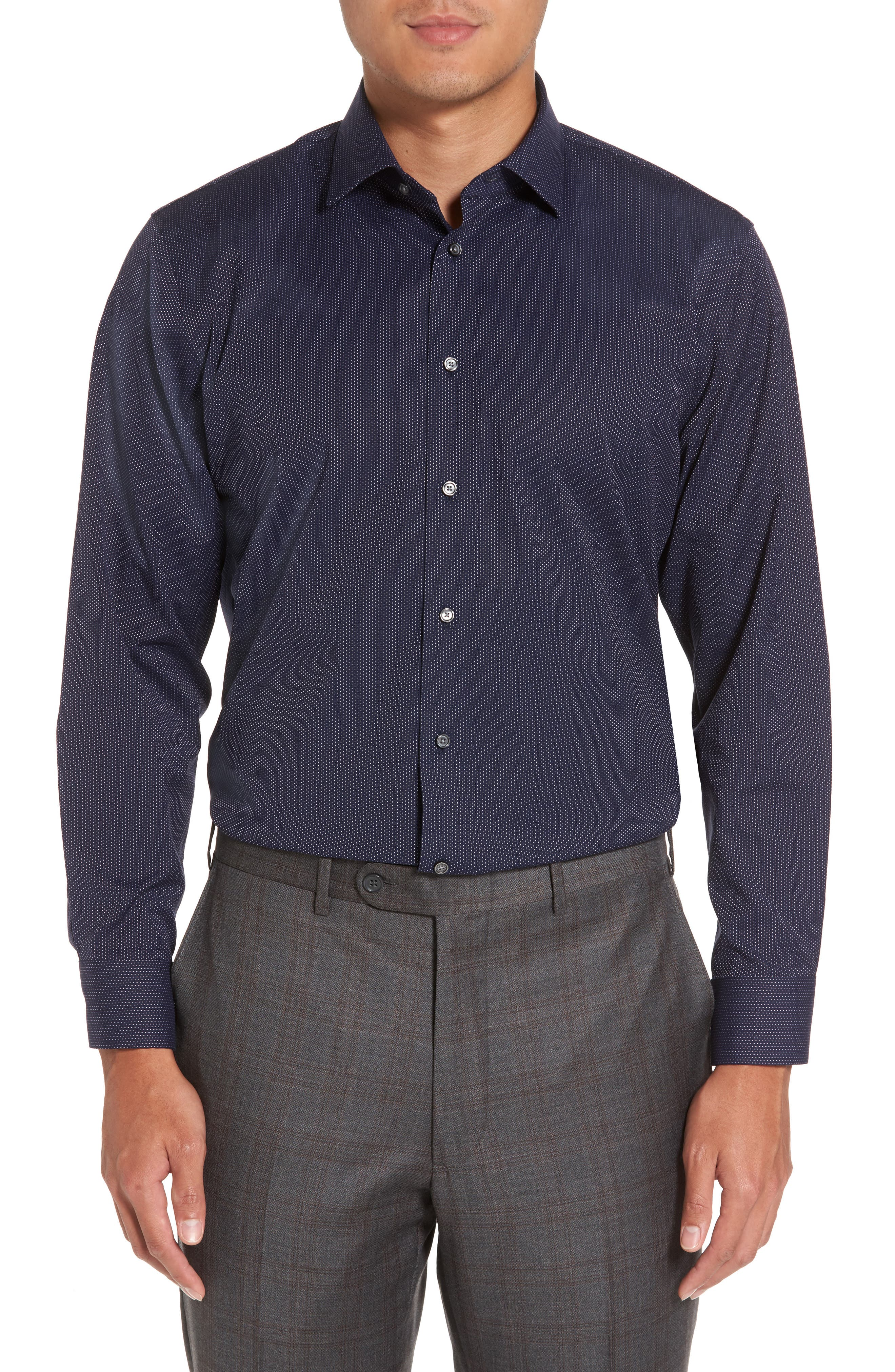 Trim Fit Non-Iron Microdot Dress Shirt,                         Main,                         color, 401