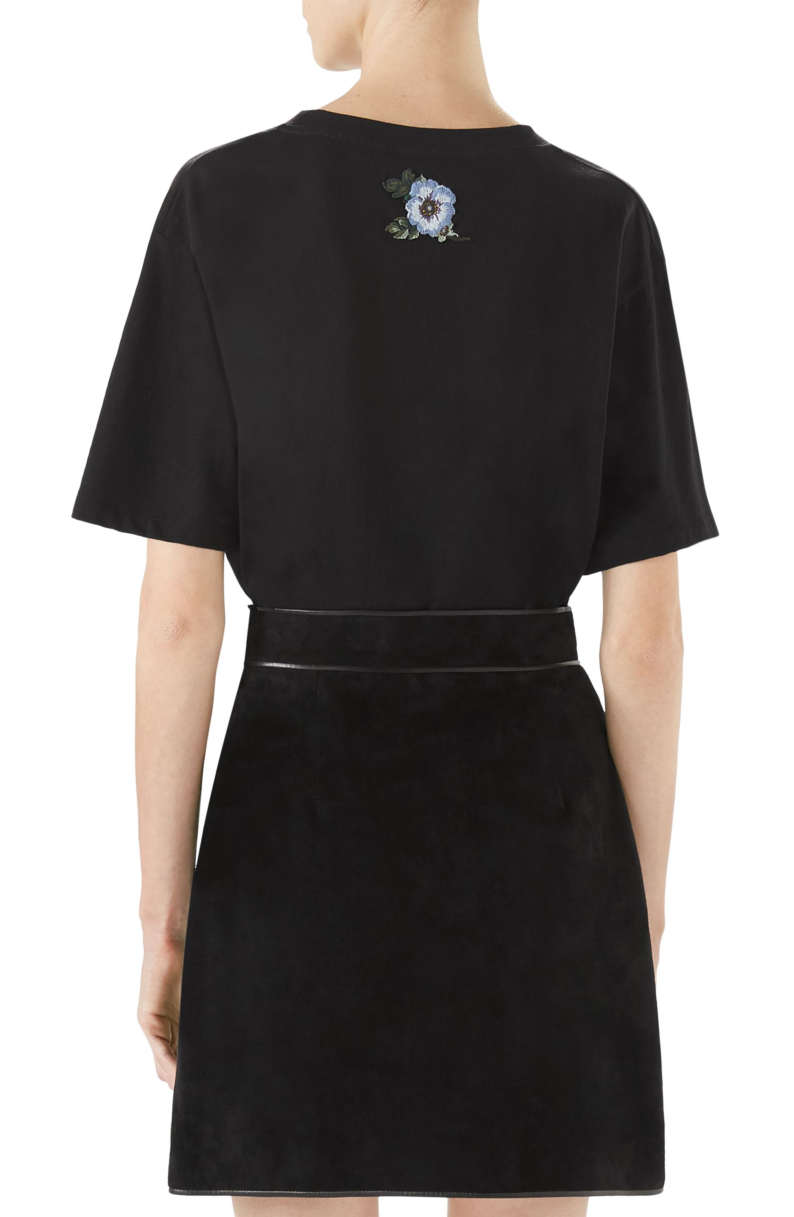 Suede Button Front Skirt,                             Alternate thumbnail 2, color,                             BLACK