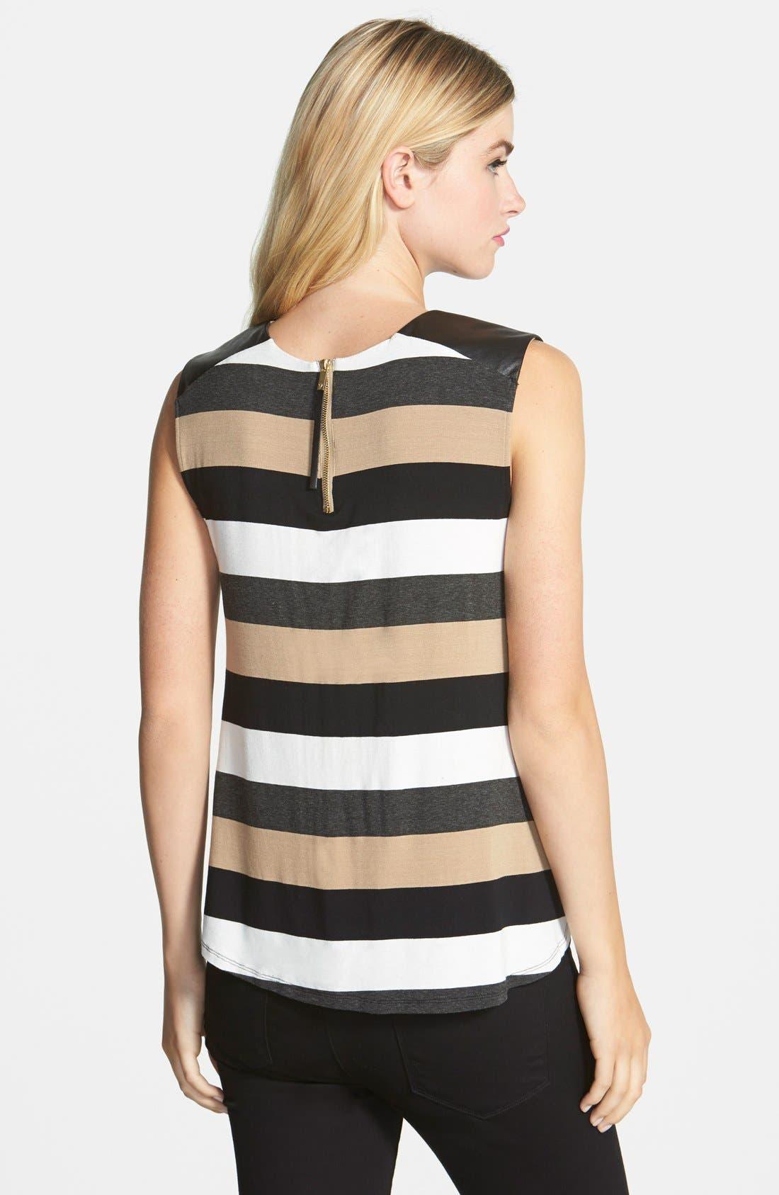 Faux Leather Trim Stripe Sleeveless Top,                             Alternate thumbnail 3, color,                             216