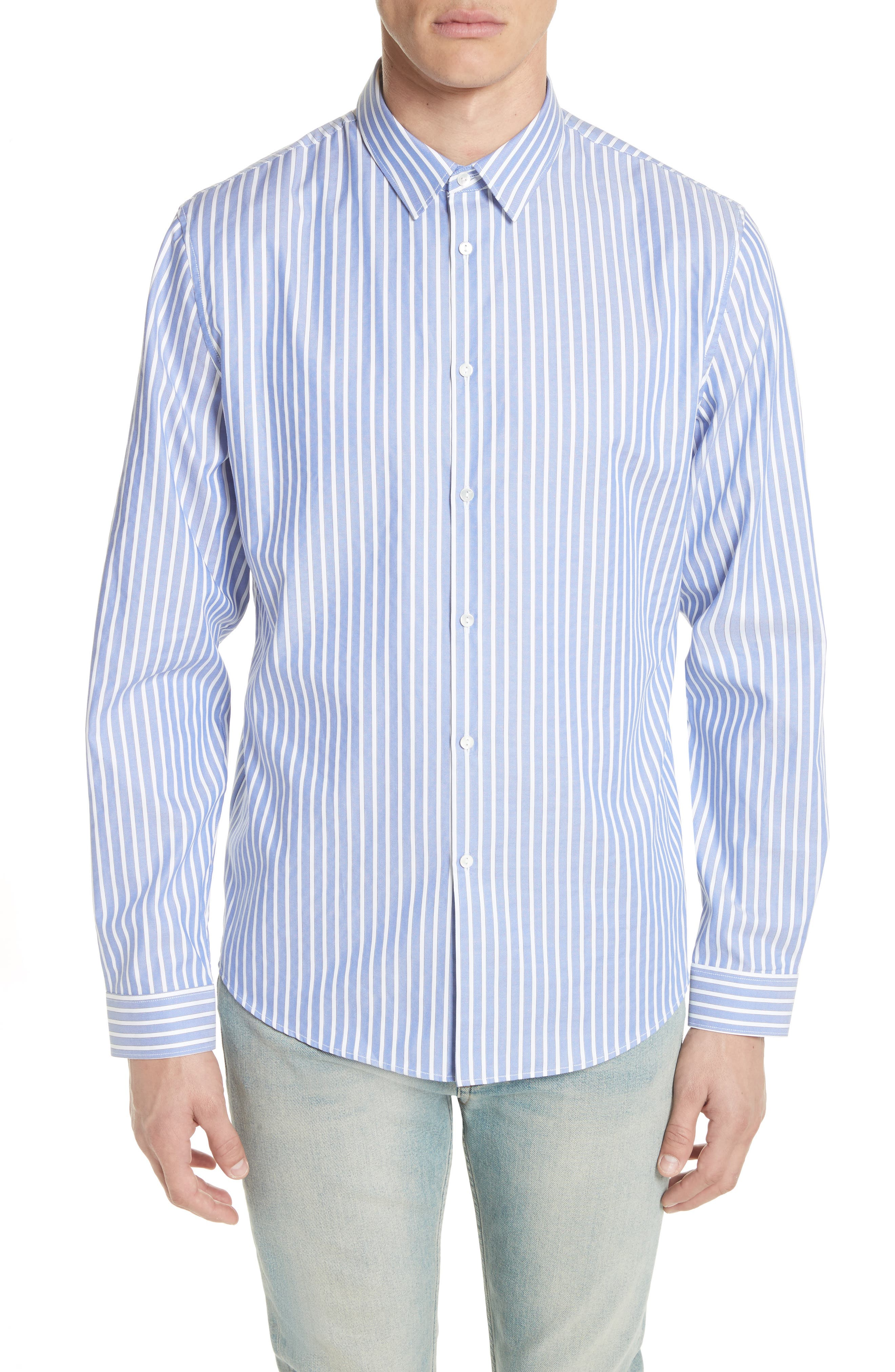 Bee Embroidered Stripe Dress Shirt,                         Main,                         color, 4869 BLUE