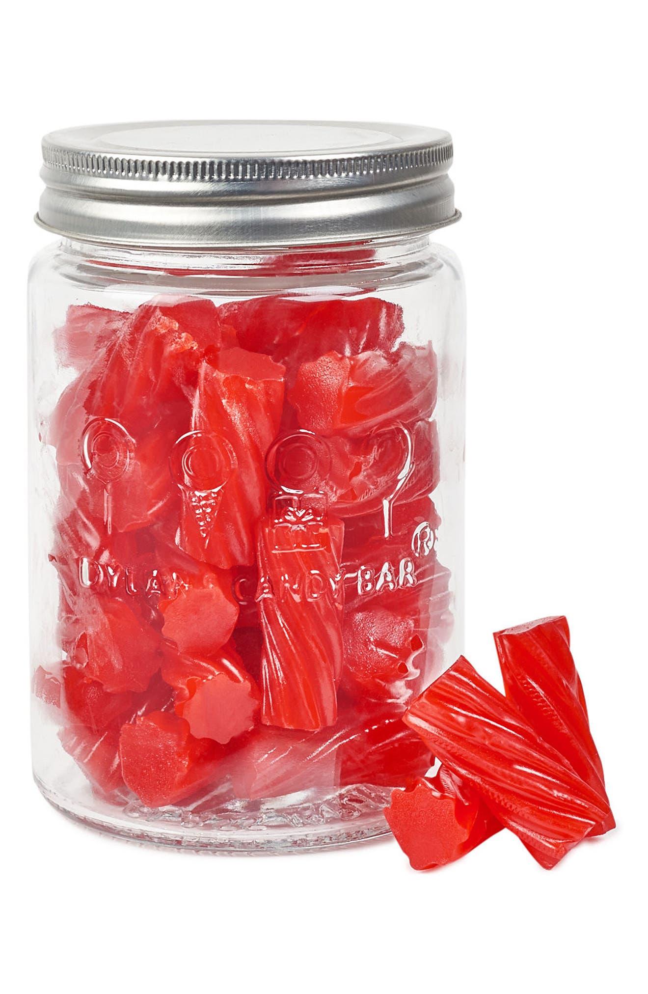 Red Licorice Filled Mason Jar,                             Main thumbnail 1, color,