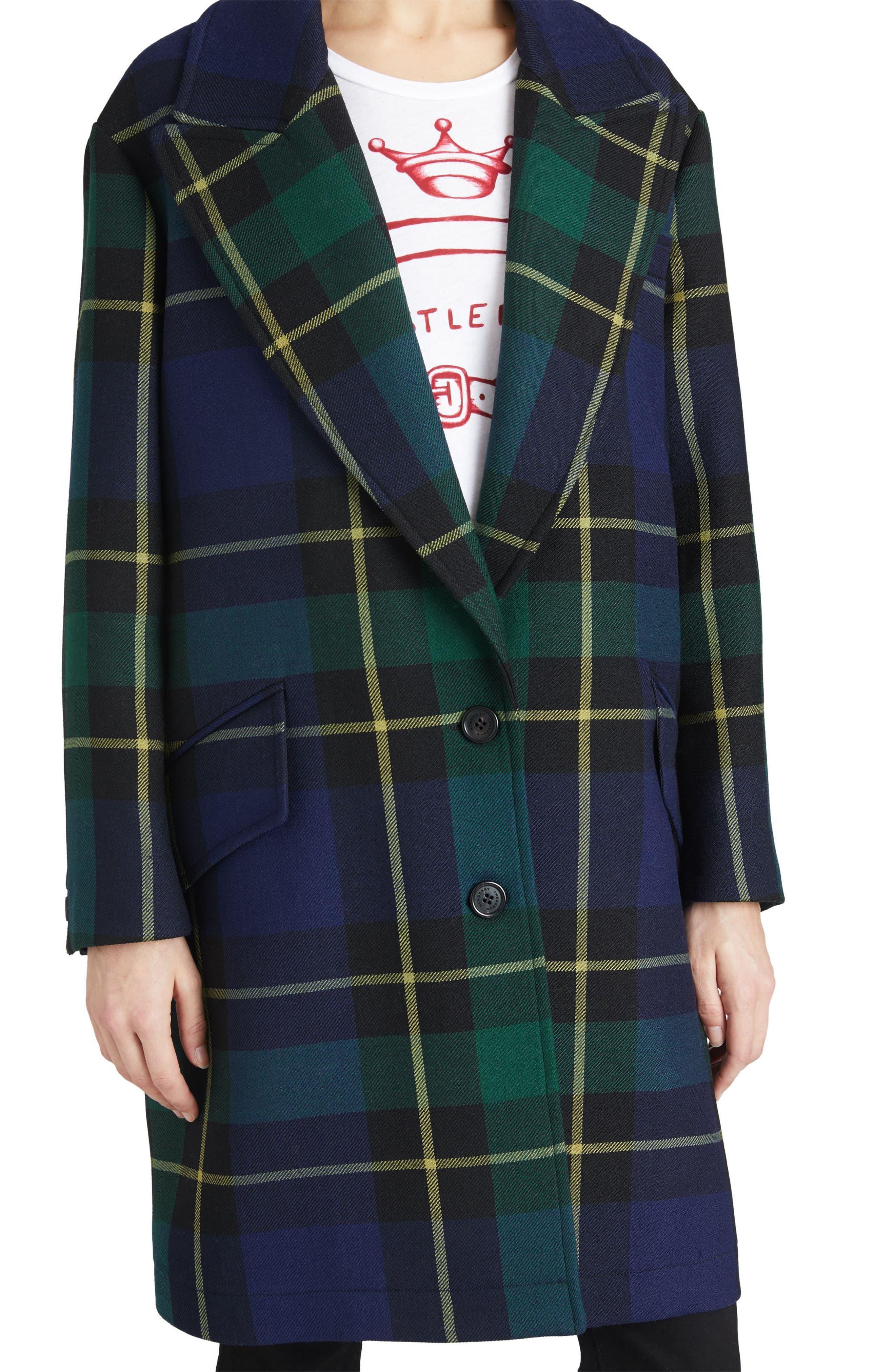 Strathyre Tartan Plaid Wool Blend Coat,                             Alternate thumbnail 4, color,                             303