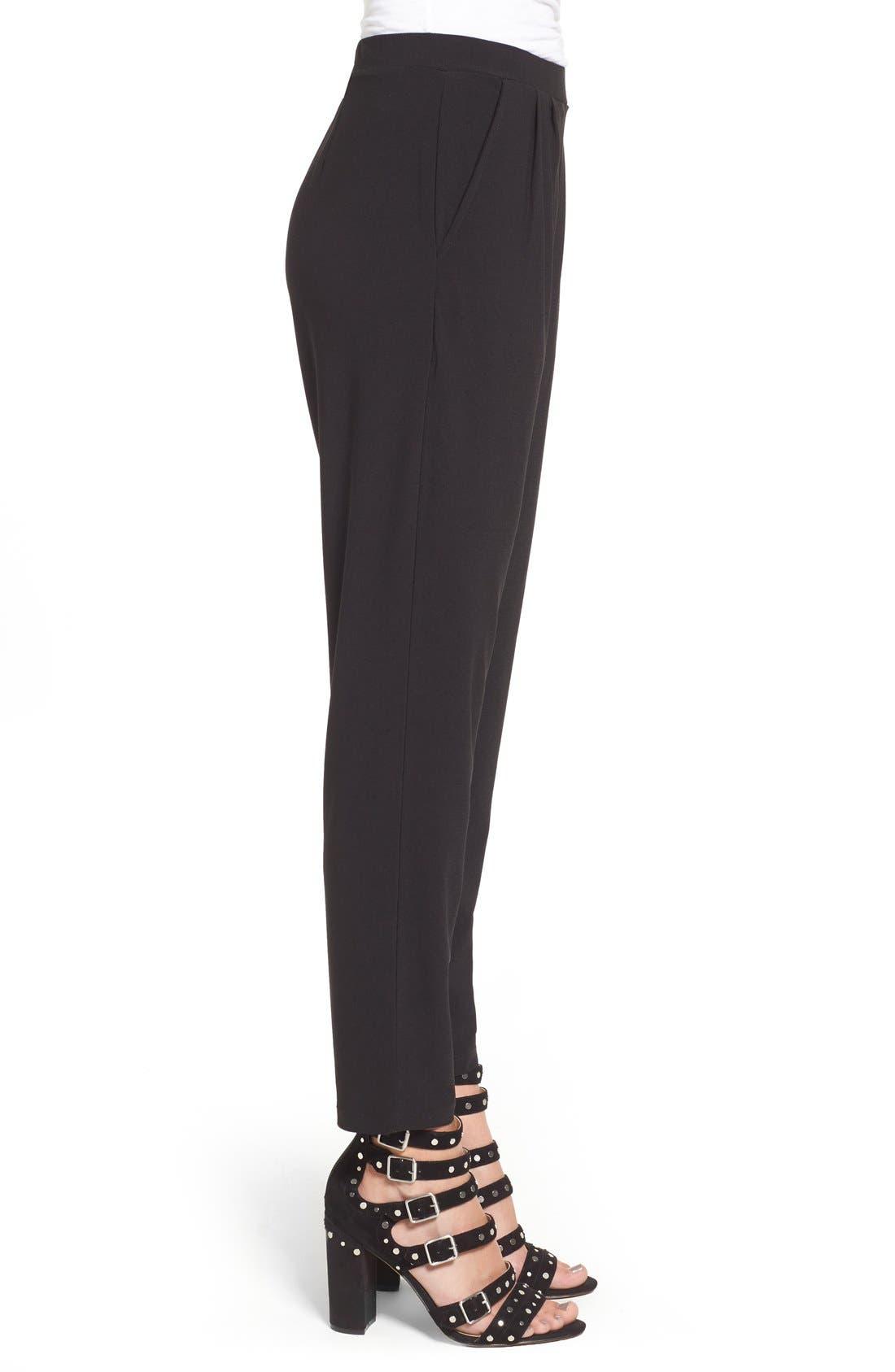 Pleat Front Trousers,                             Alternate thumbnail 8, color,                             BLACK