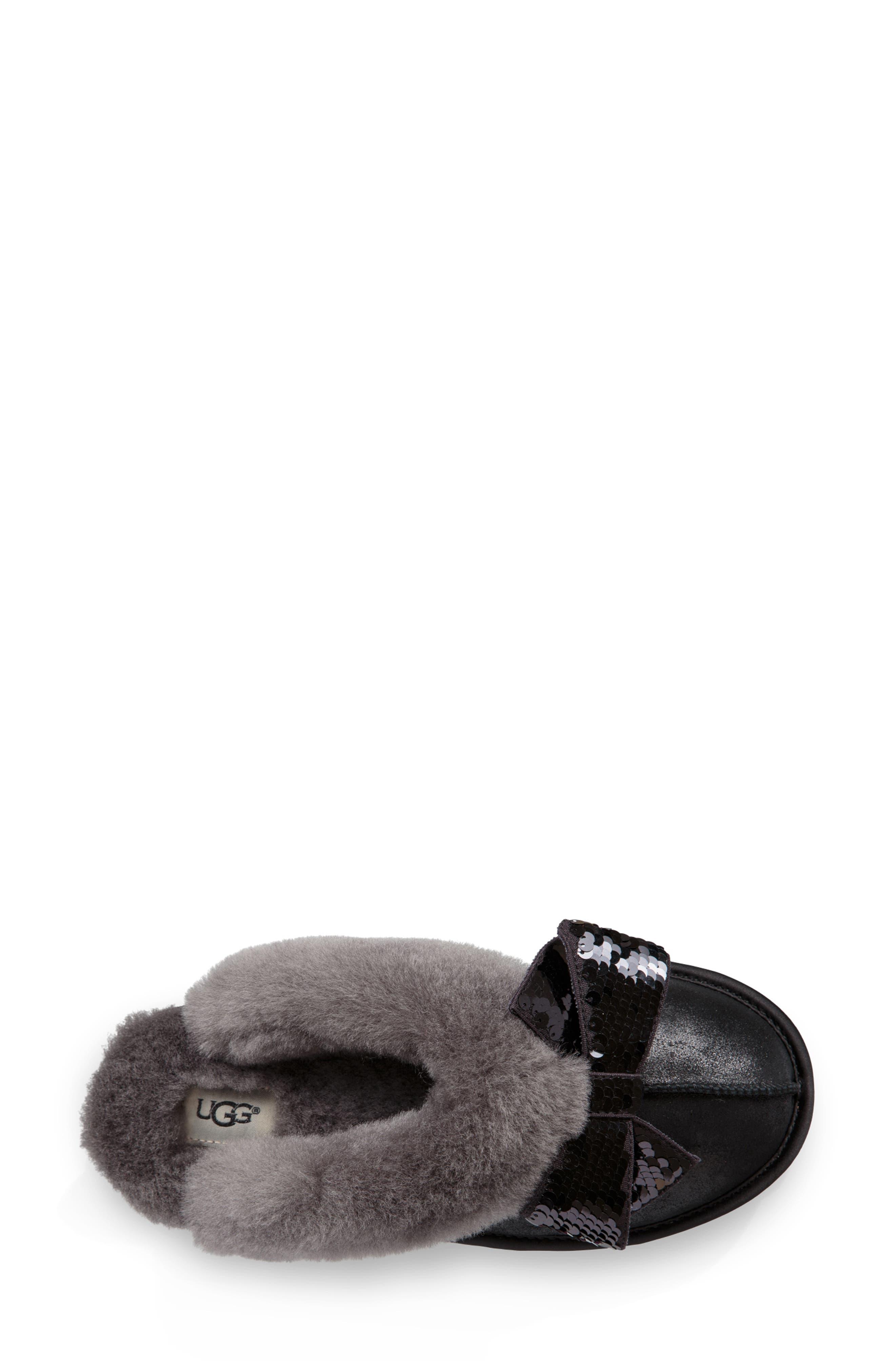 Genuine Shearling & Sequin Bow Slipper,                             Alternate thumbnail 4, color,                             BLACK