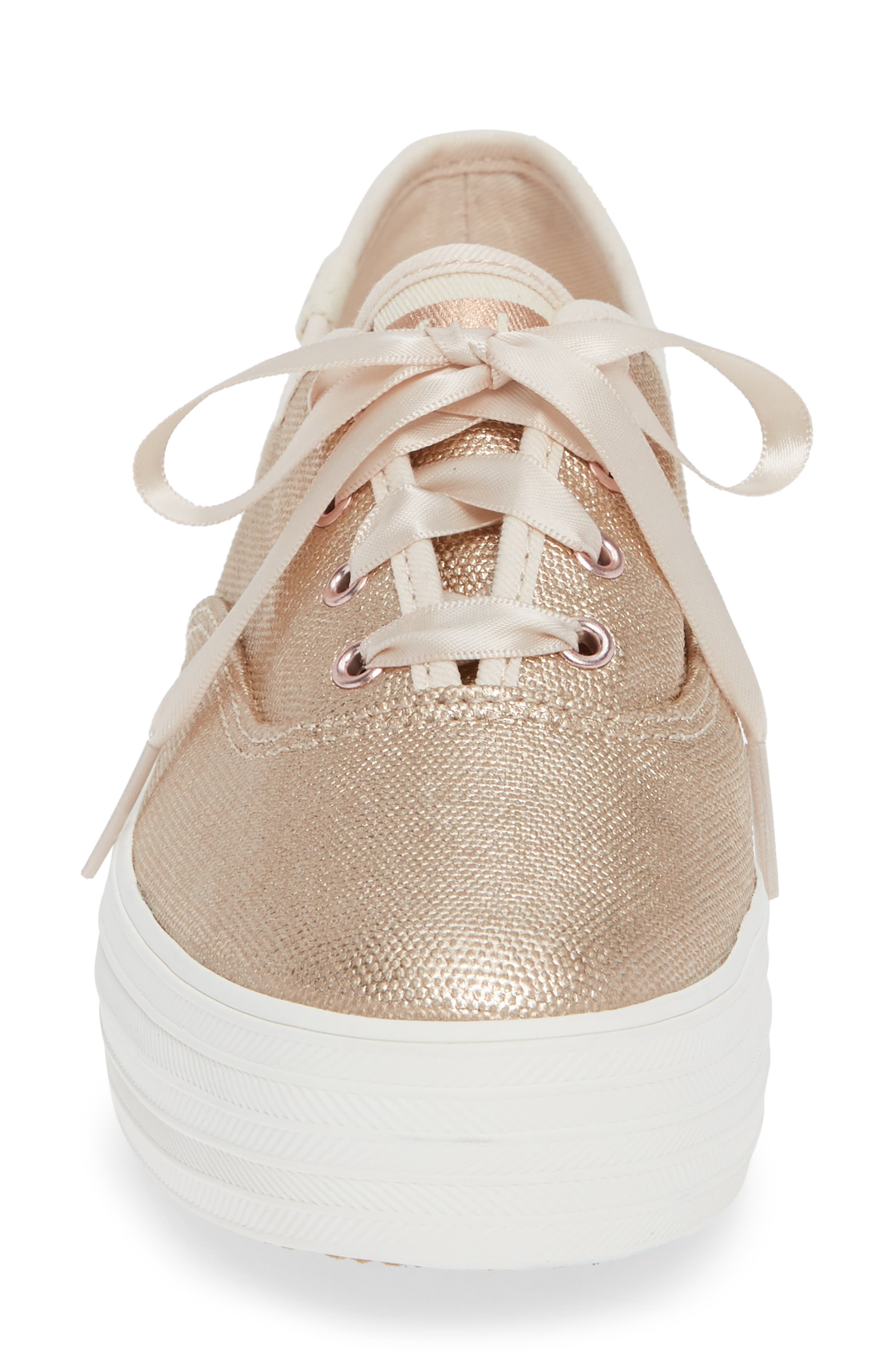 Triple Decker Brushed Metallic Platform Sneaker,                             Alternate thumbnail 4, color,                             ROSE GOLD