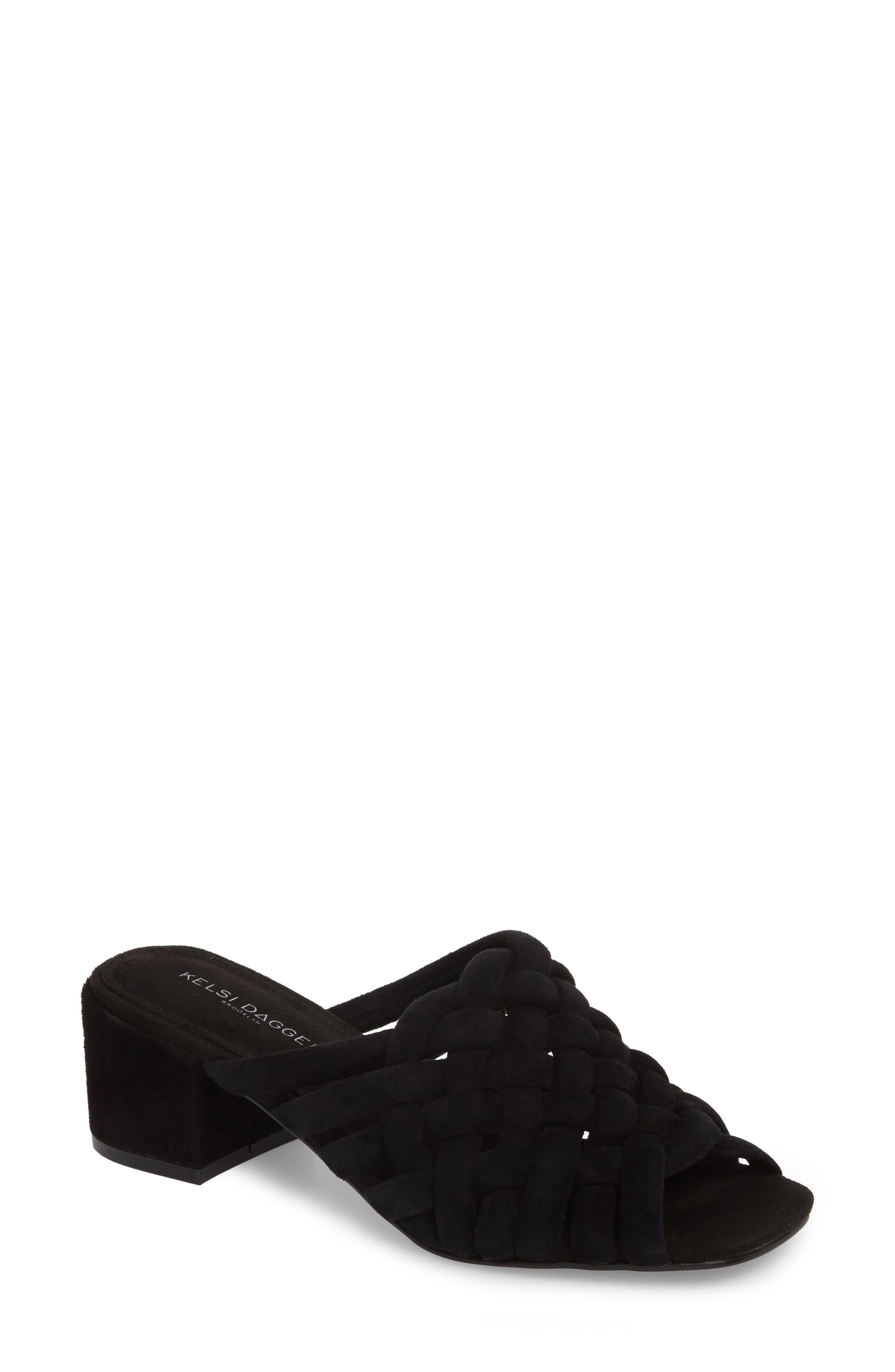 Sky Dress Woven Mule Sandal,                         Main,                         color, 001