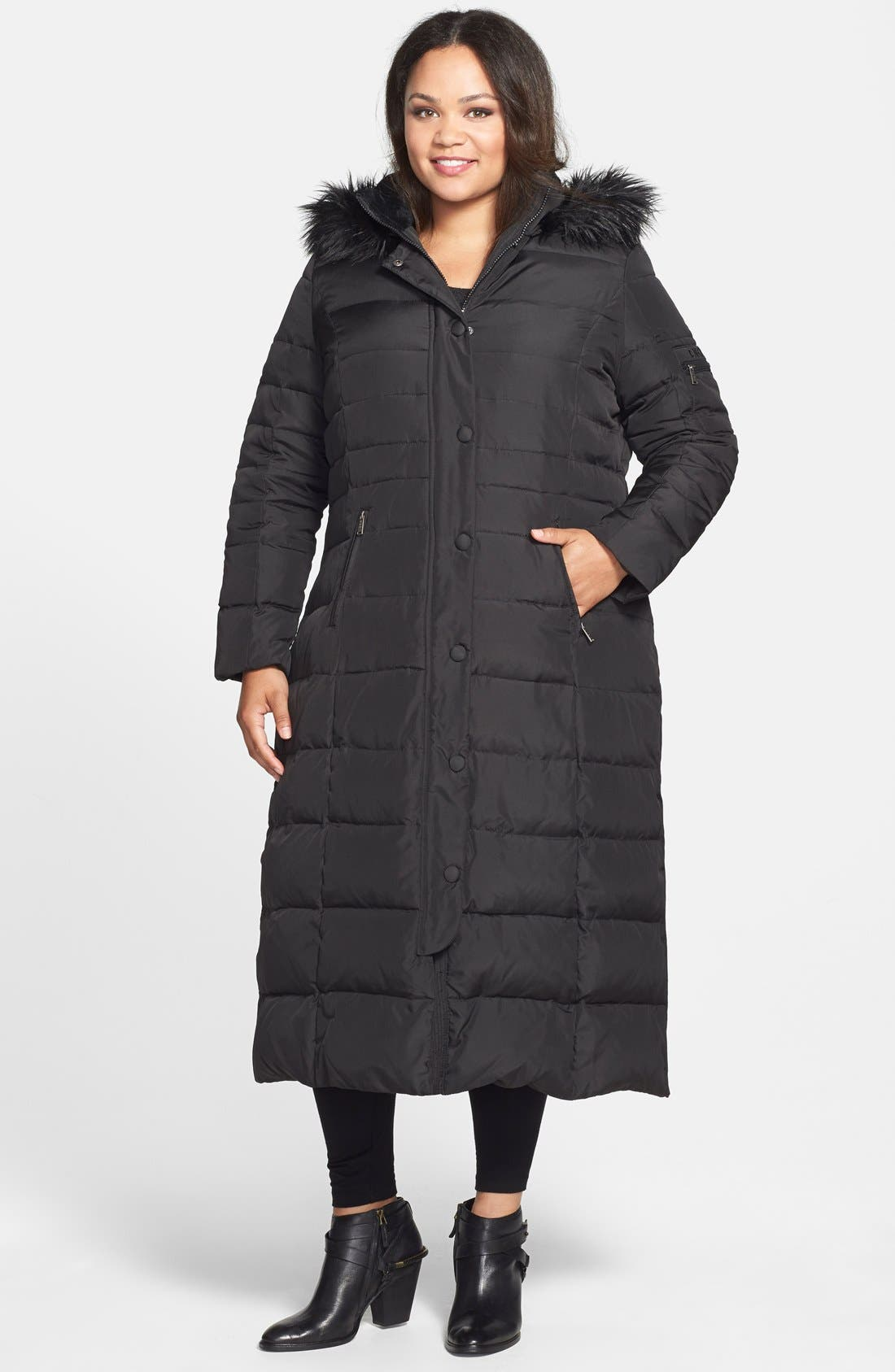 DKNY Down & Feather Fill Maxi Coat with Faux Fur Trim, Main, color, 001