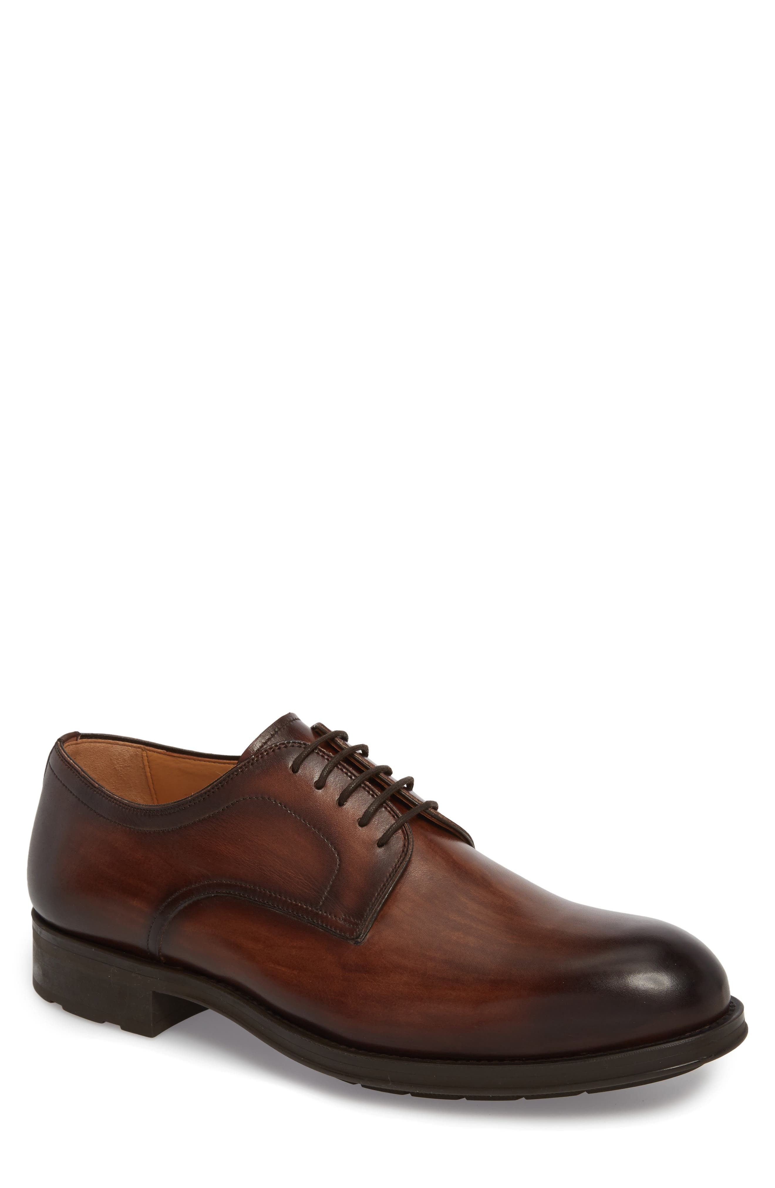 Solano Plain Toe Derby,                             Main thumbnail 1, color,                             BROWN LEATHER
