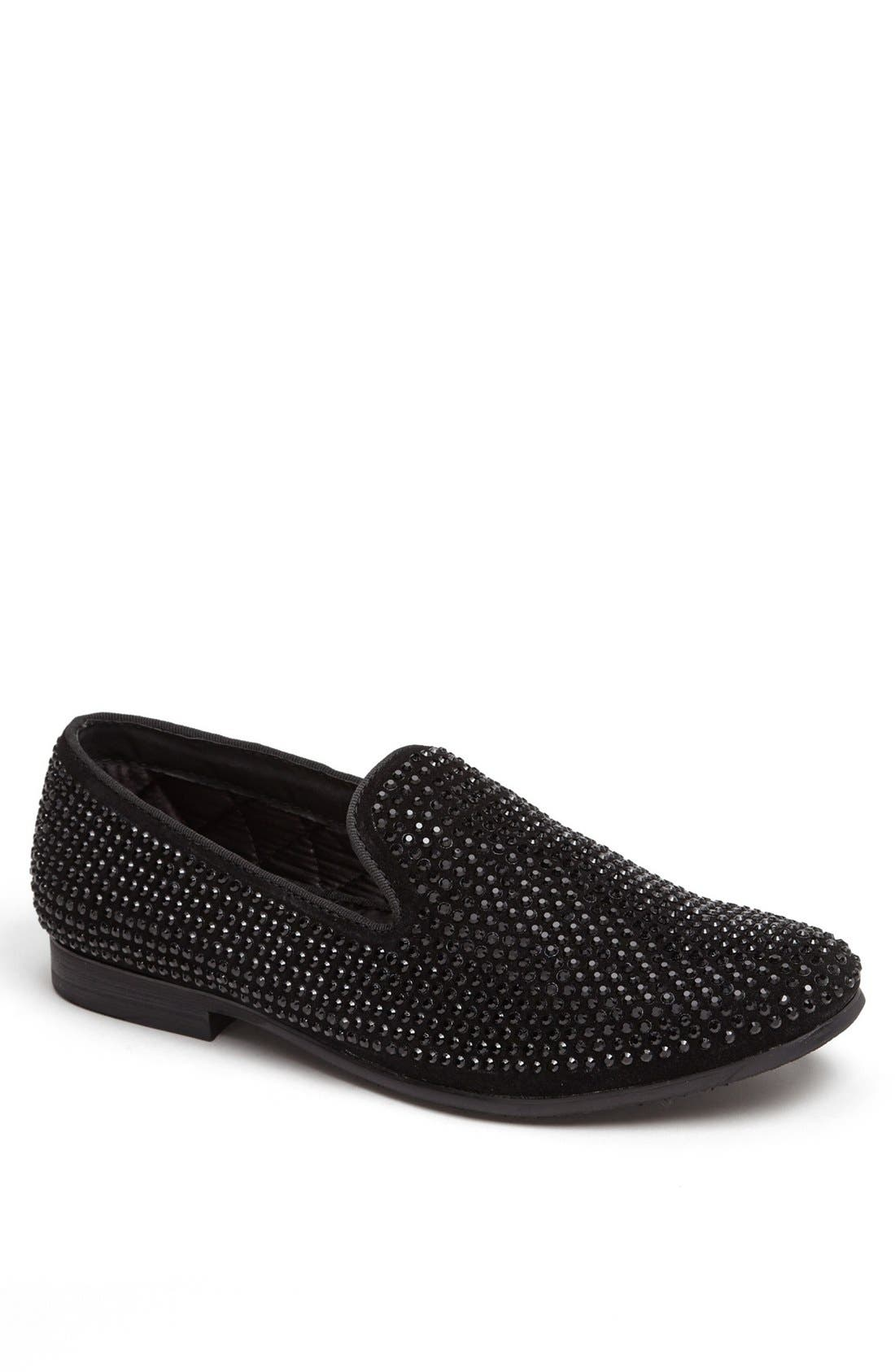 'Caviarr' Slip-On,                         Main,                         color, BLACK RHINESTONES