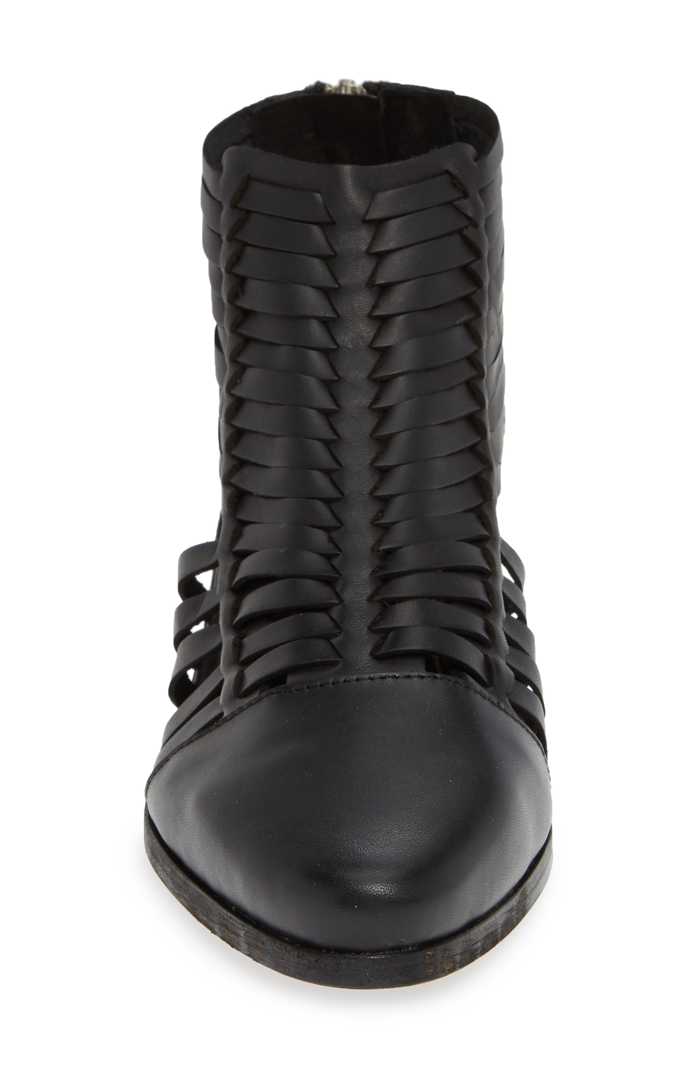 Rosabell Woven Bootie,                             Alternate thumbnail 4, color,                             BLACK LEATHER