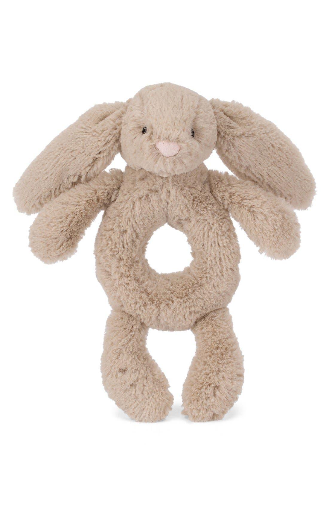'Bashful Bunny' Grabber Rattle,                             Main thumbnail 1, color,                             BEIGE