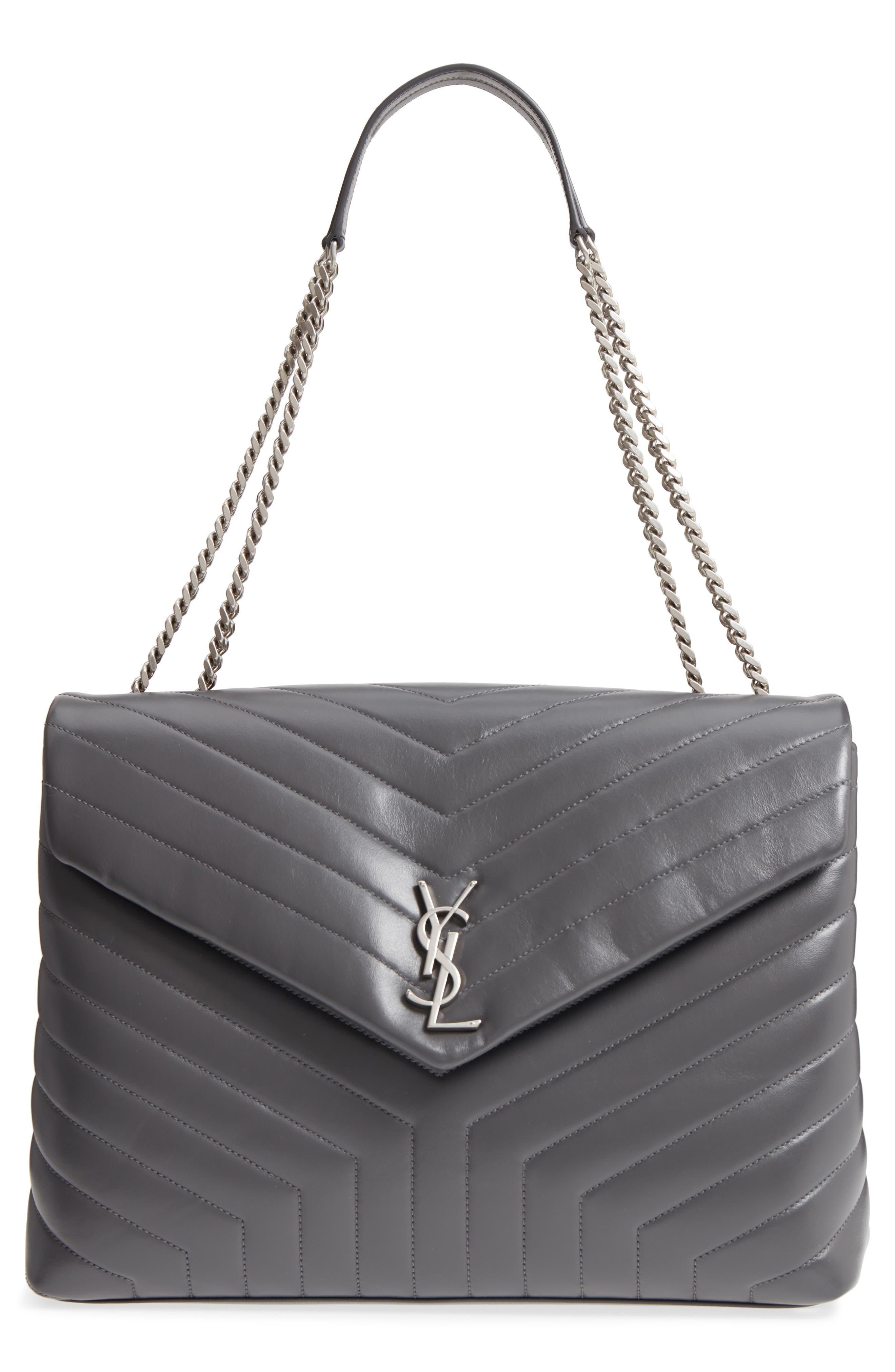 Large Loulou Matelassé Leather Shoulder Bag,                         Main,                         color, STORM/ STORM