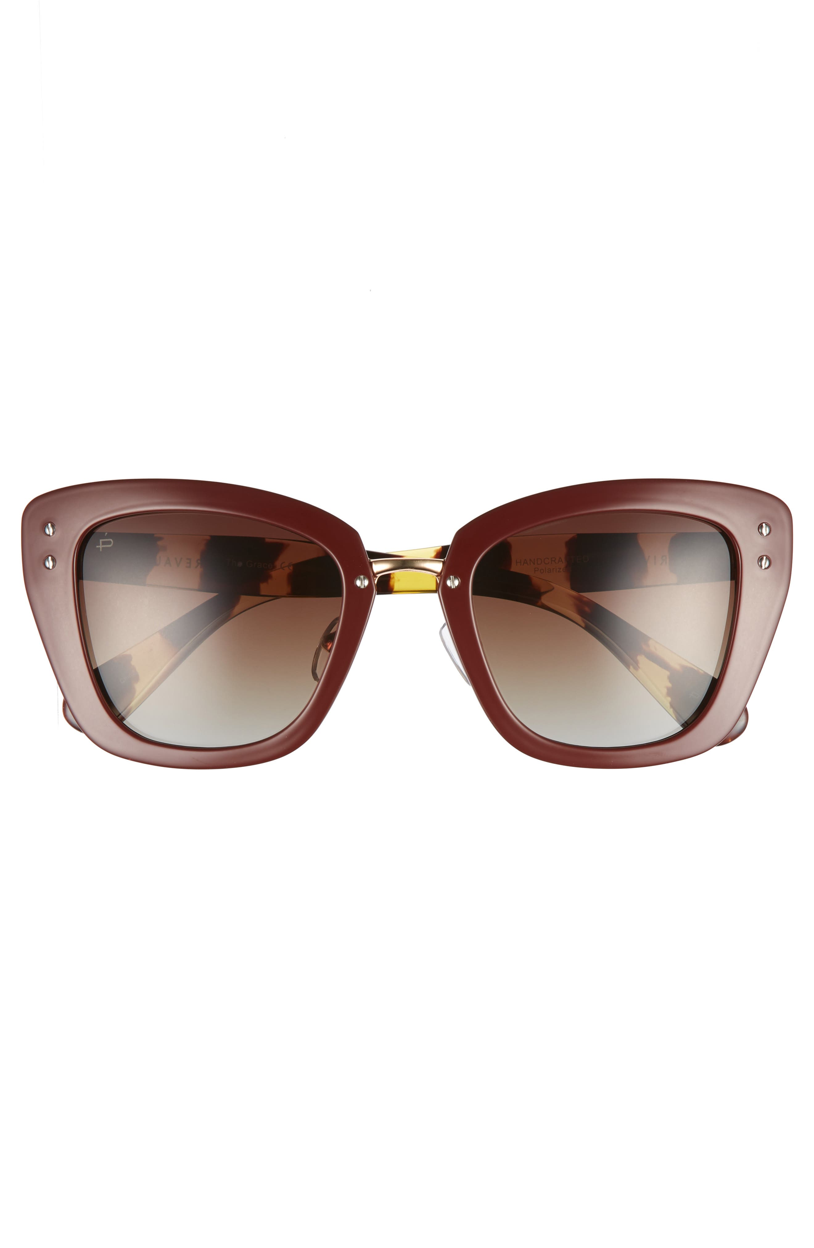 Privé Revaux The Grace 52mm Cat Eye Sunglasses,                             Alternate thumbnail 3, color,                             RED