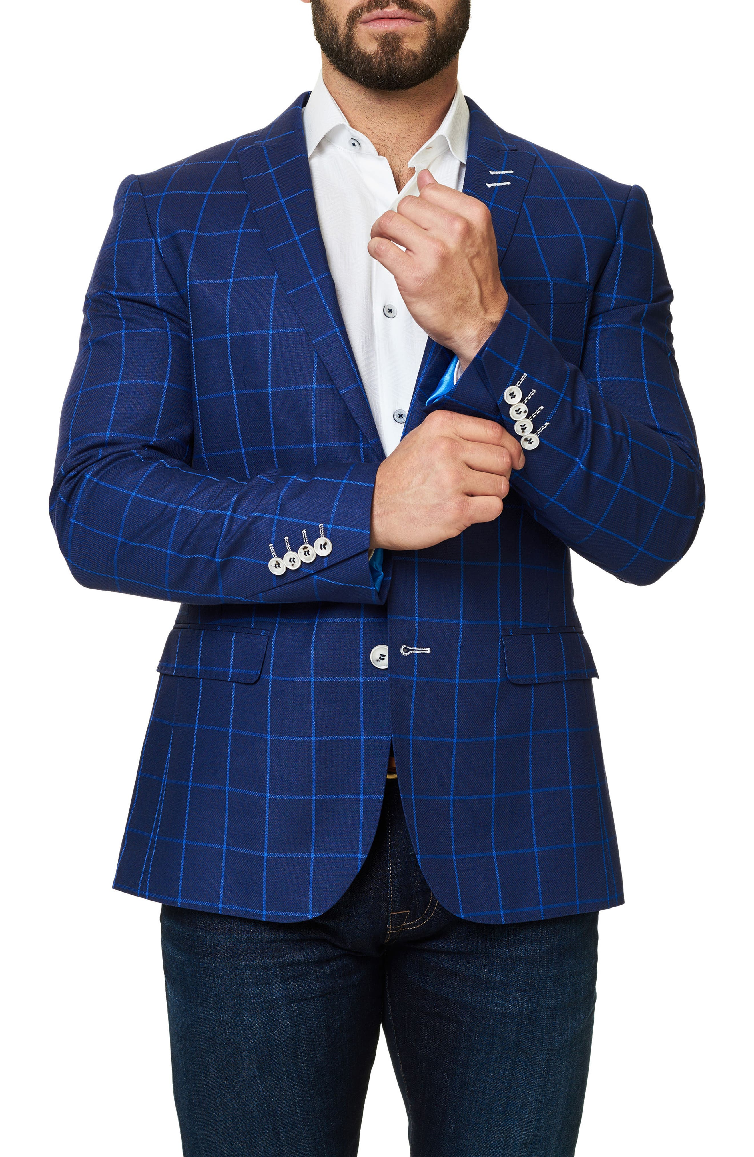 Descarte Windowpane Sport Coat,                             Alternate thumbnail 3, color,                             420