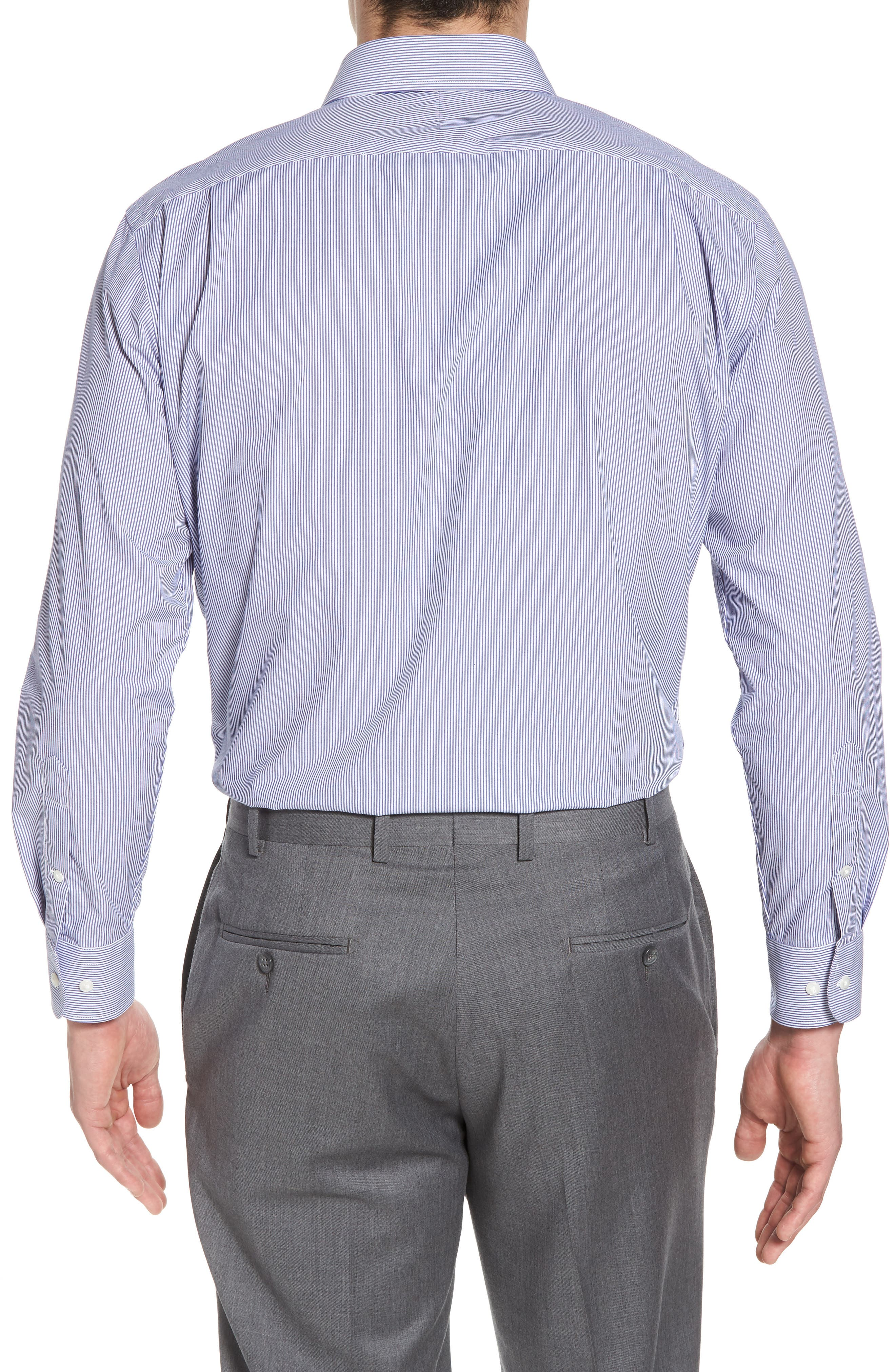 Trim Fit Non-Iron Stripe Dress Shirt,                             Alternate thumbnail 14, color,